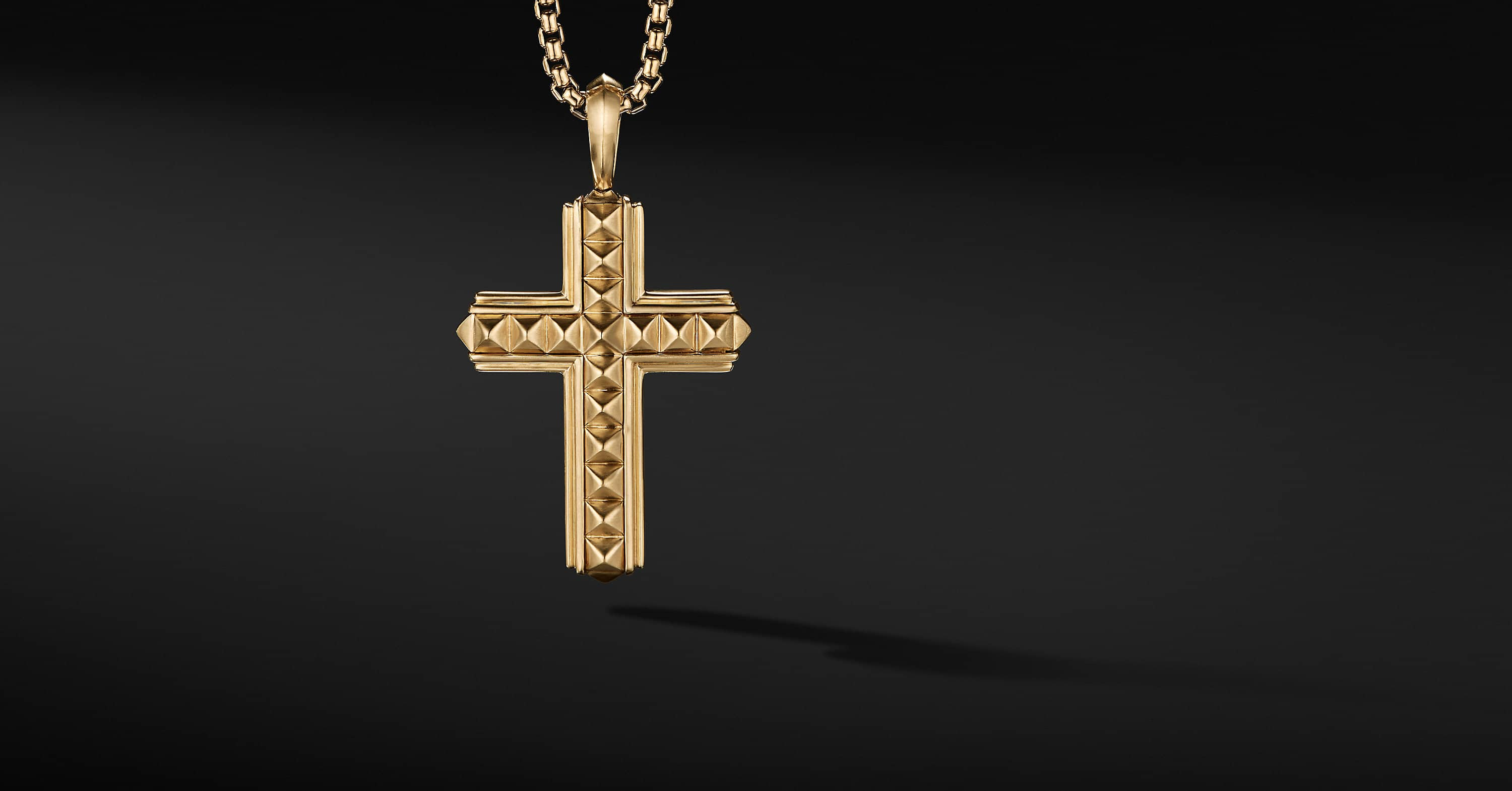 Pyramid Cross in 18K Yellow Gold, 37mm