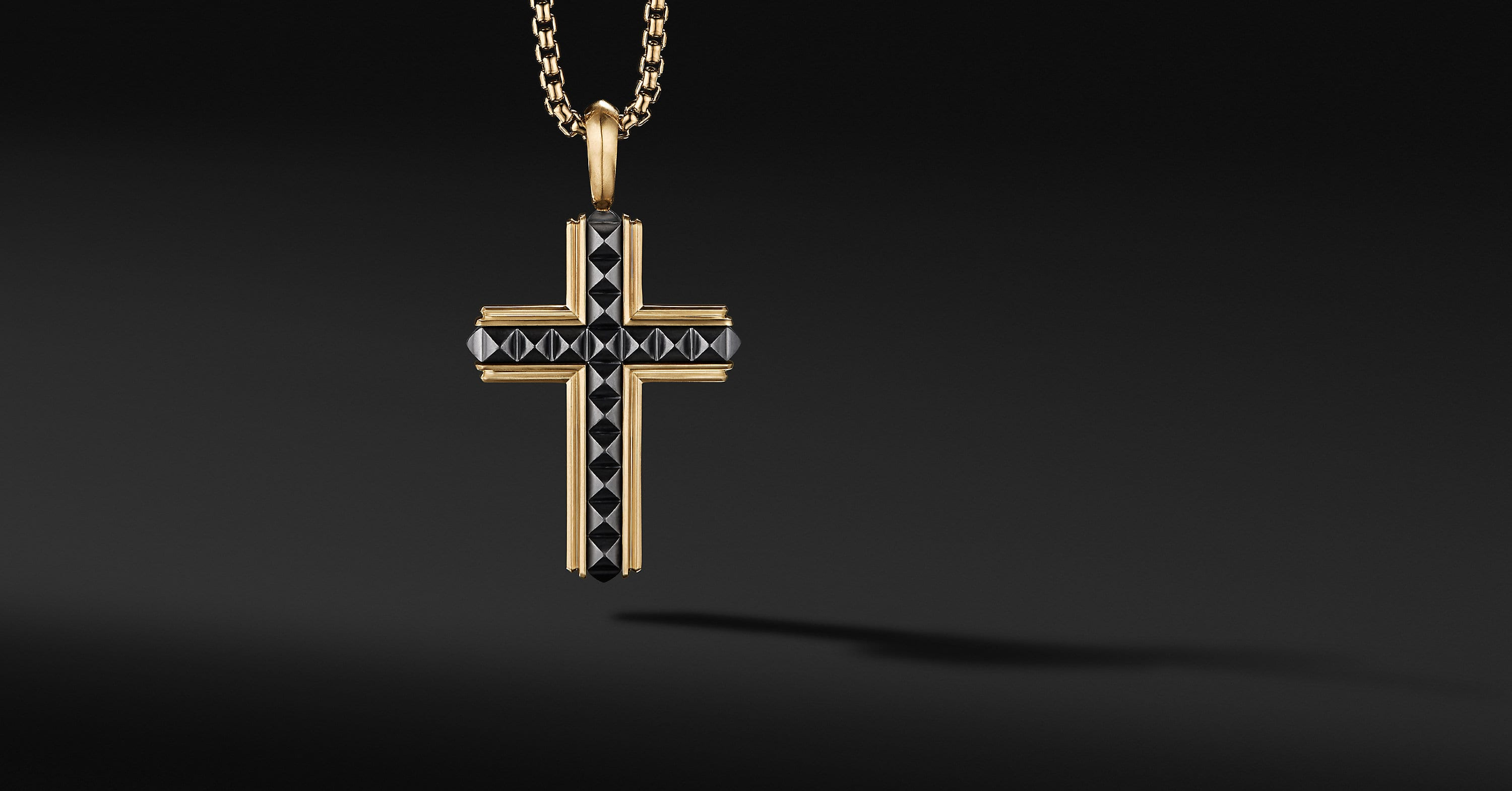 Pyramid Cross in 18K Yellow Gold with Black Titanium, 37mm