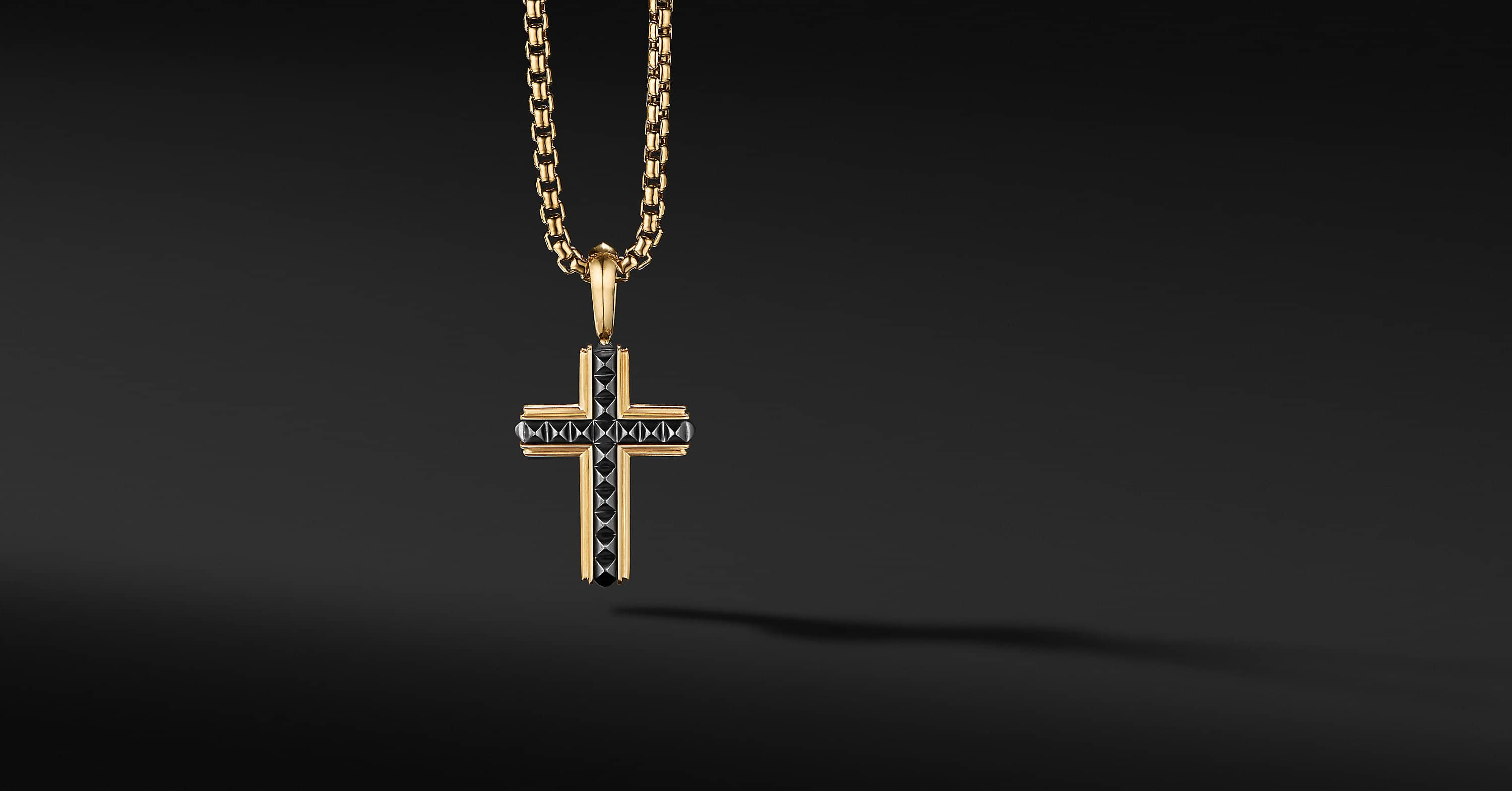 Pyramid Cross in 18K Yellow Gold with Black Titanium, 24mm