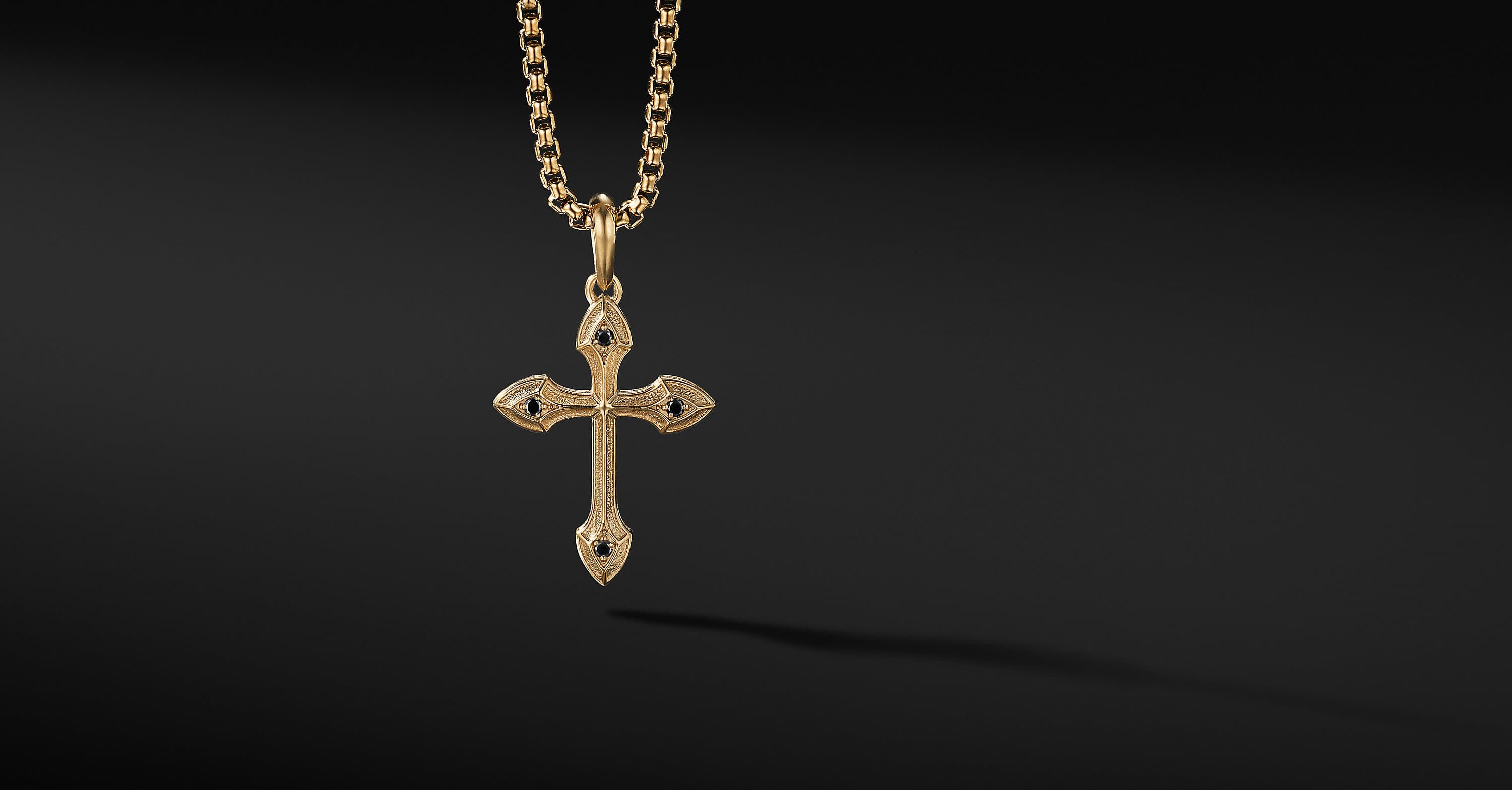 Small Gothic Cross Amulet with 18K Yellow Gold