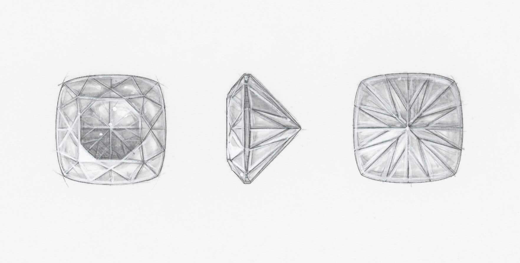 Three pencil sketches showing the faceting on the table, side and pavilion of a DY Signature Cut diamond.