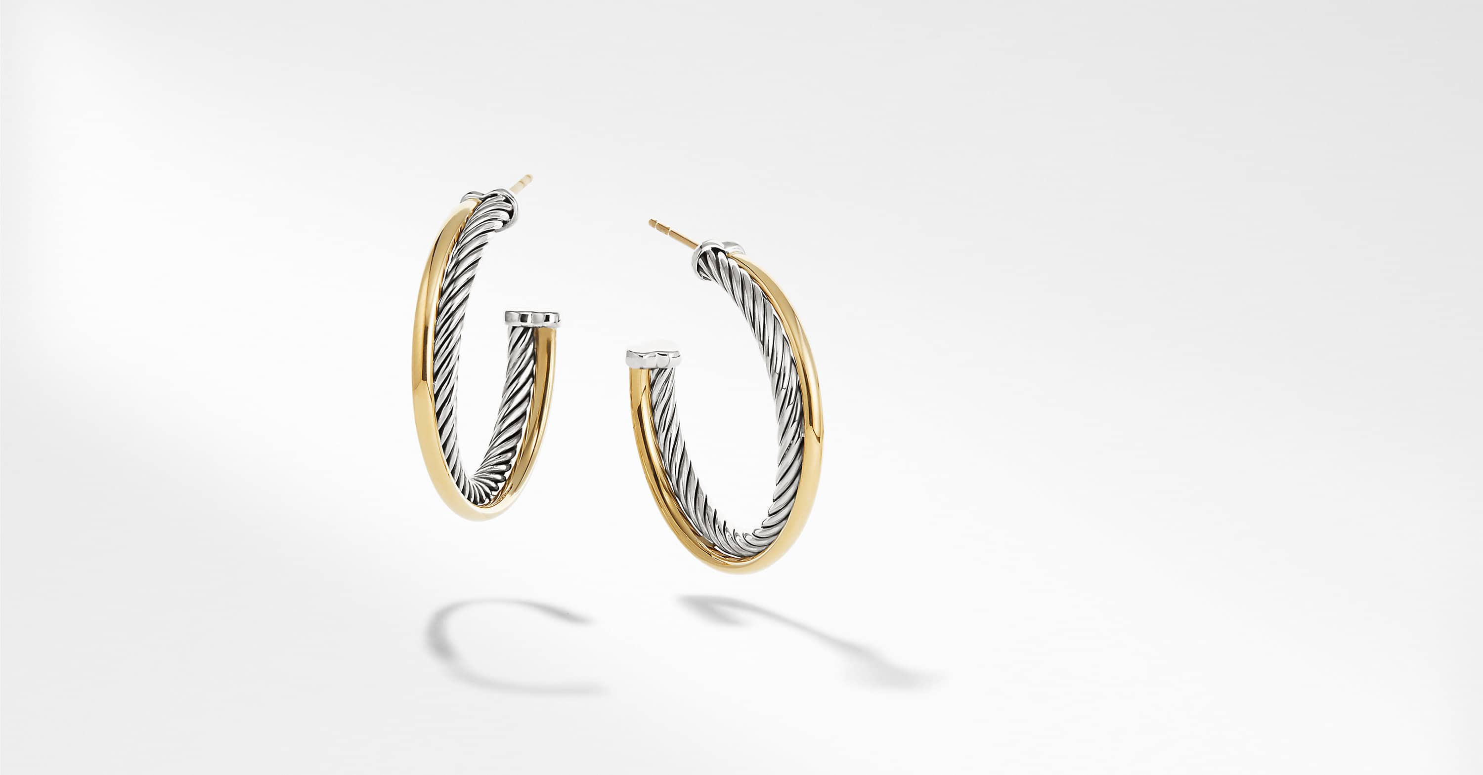 Crossover Medium Hoop Earrings with 18K Gold