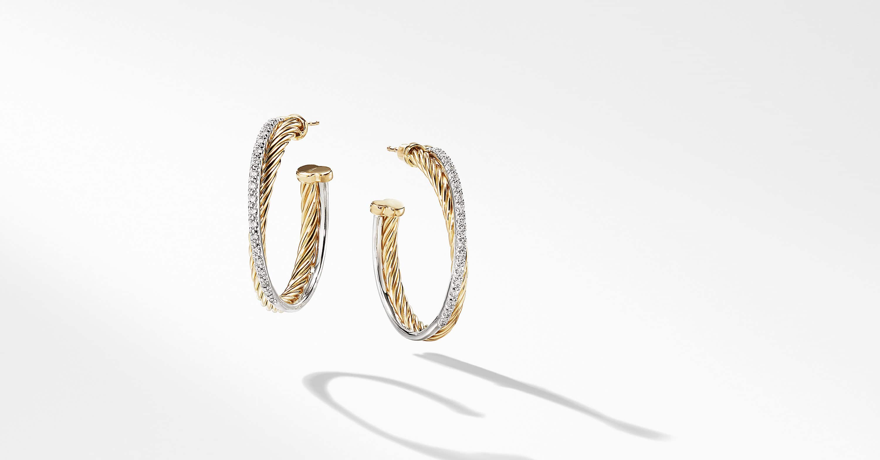 The Crossover Collection Medium Hoop Earrings in 18K Yellow Gold with Diamonds