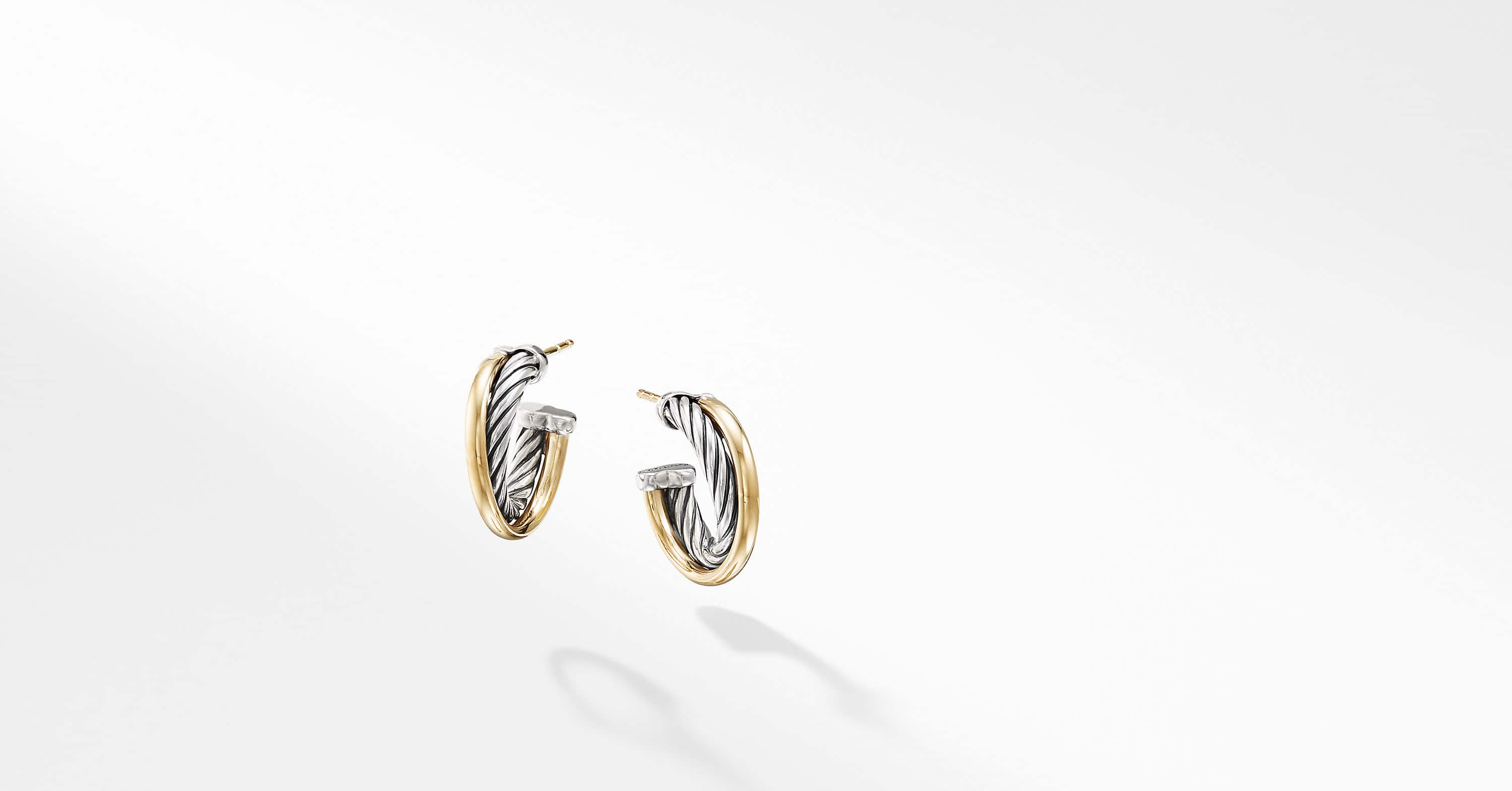 The Crossover Collection Hoop Earrings with 18K Yellow Gold