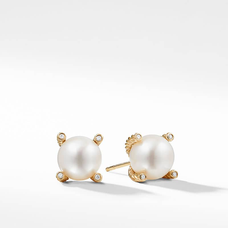 Pearl Stud Earrings in 18K Yellow Gold with Diamonds, 10mm