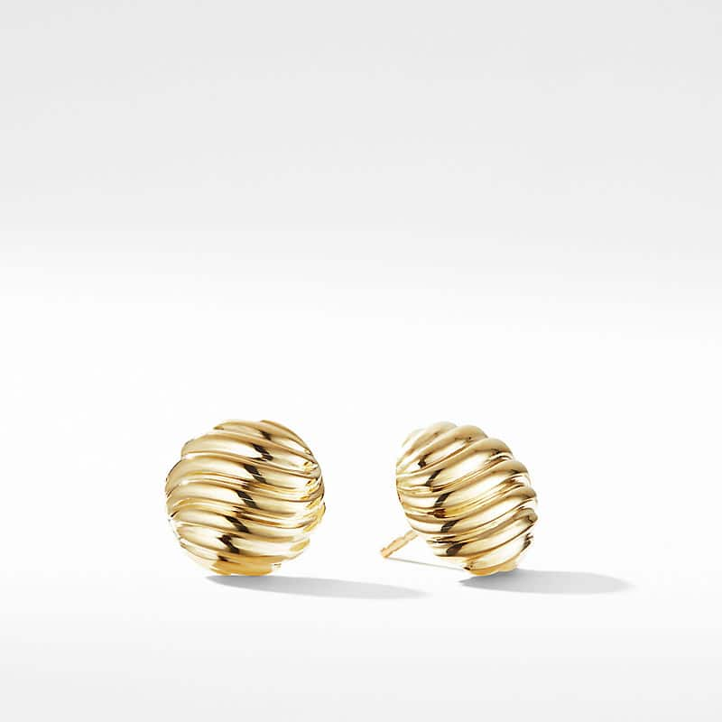 Sculpted Cable Earrings in 18K Gold