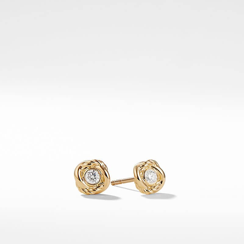 Infinity Earrings with Diamonds in Gold
