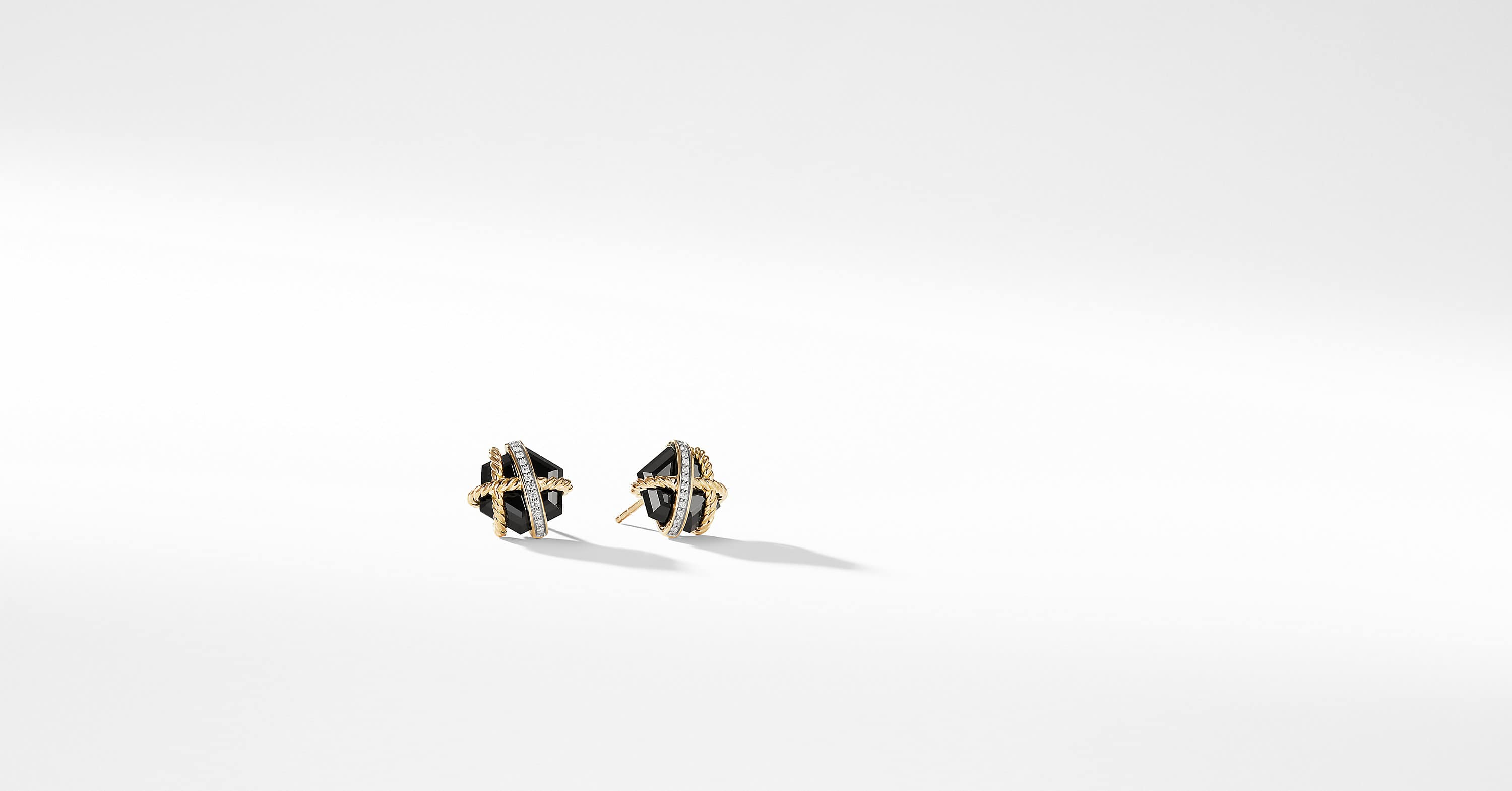 Cable Wrap Earrings With Diamonds in 18K Gold, 10mm