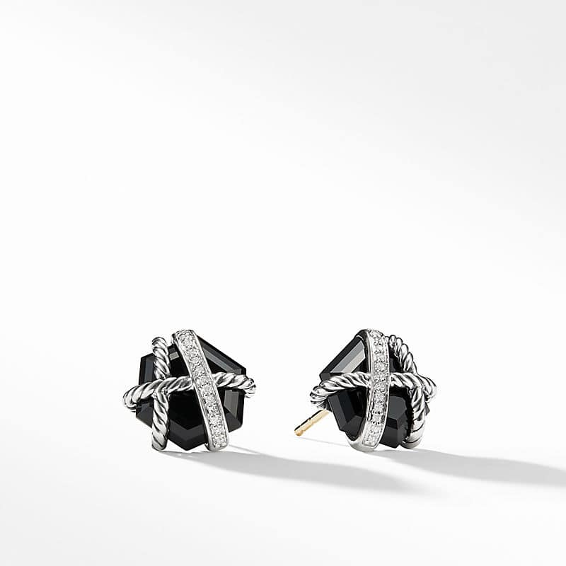 Cable Wrap Earrings with Diamonds, 10mm