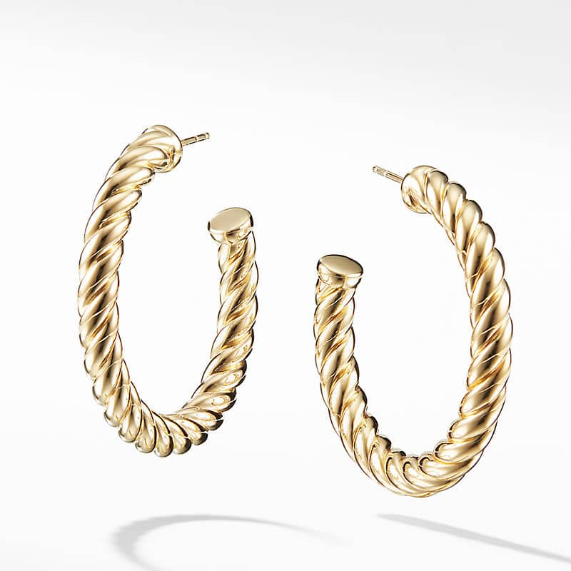 Cable Classics Hoop Earrings in 18K Yellow Gold
