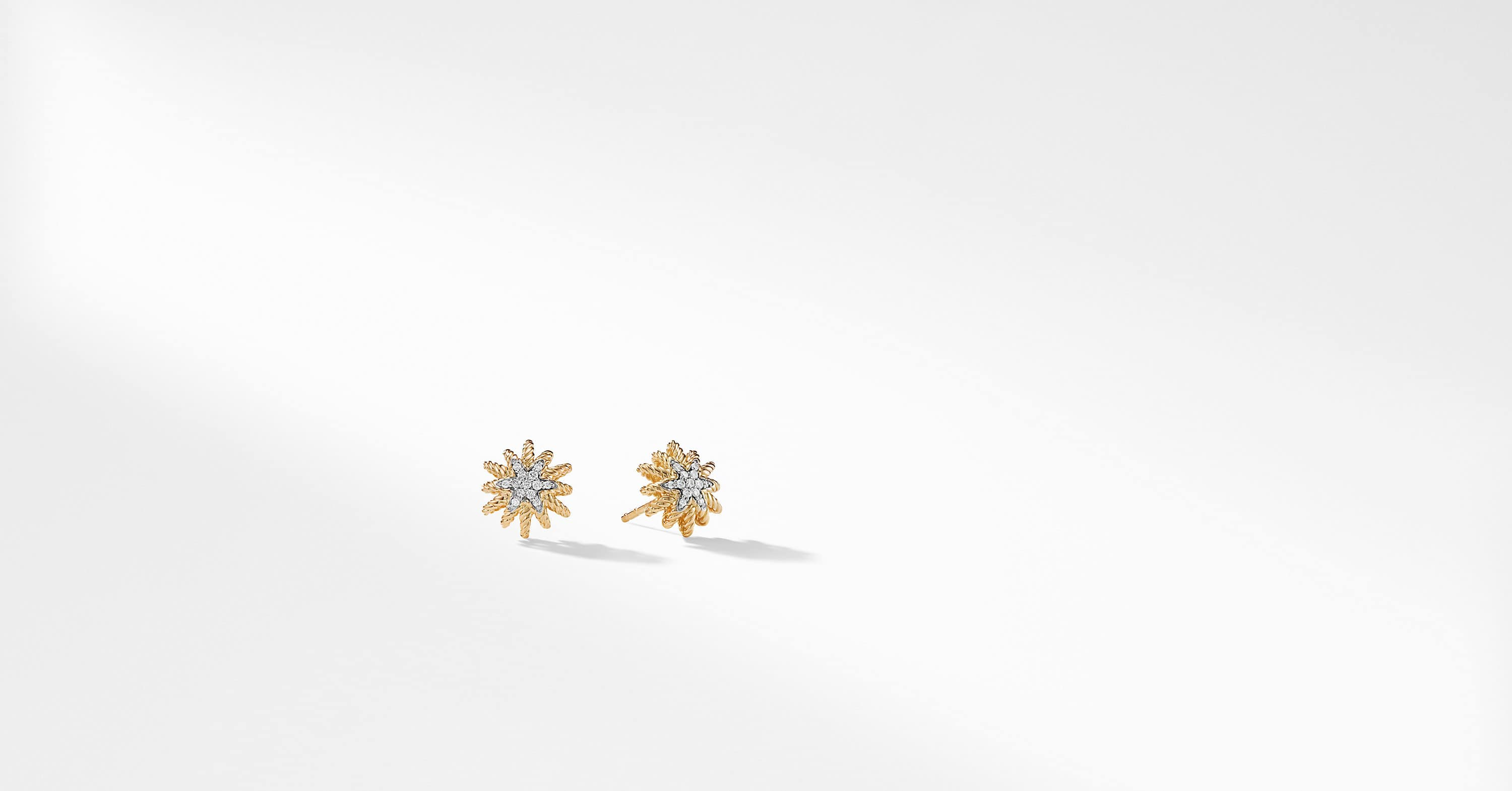 Starburst Earrings with Diamonds in 18K Gold, 10mm