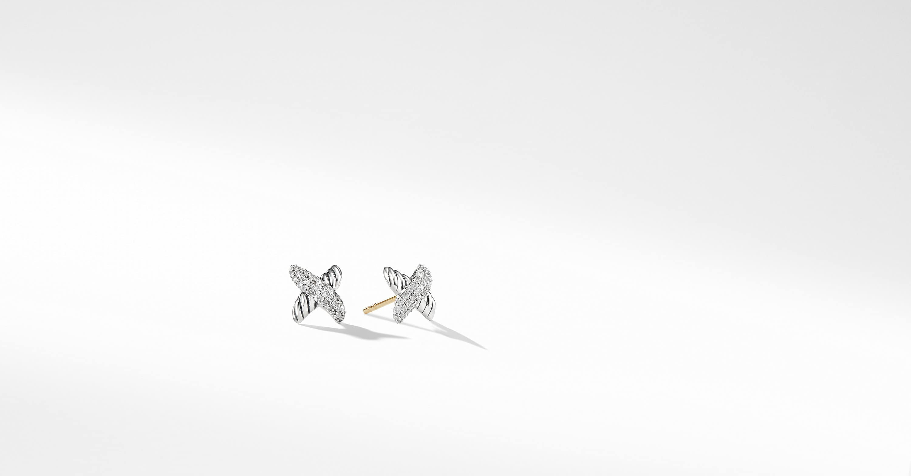 X Earrings with Diamonds