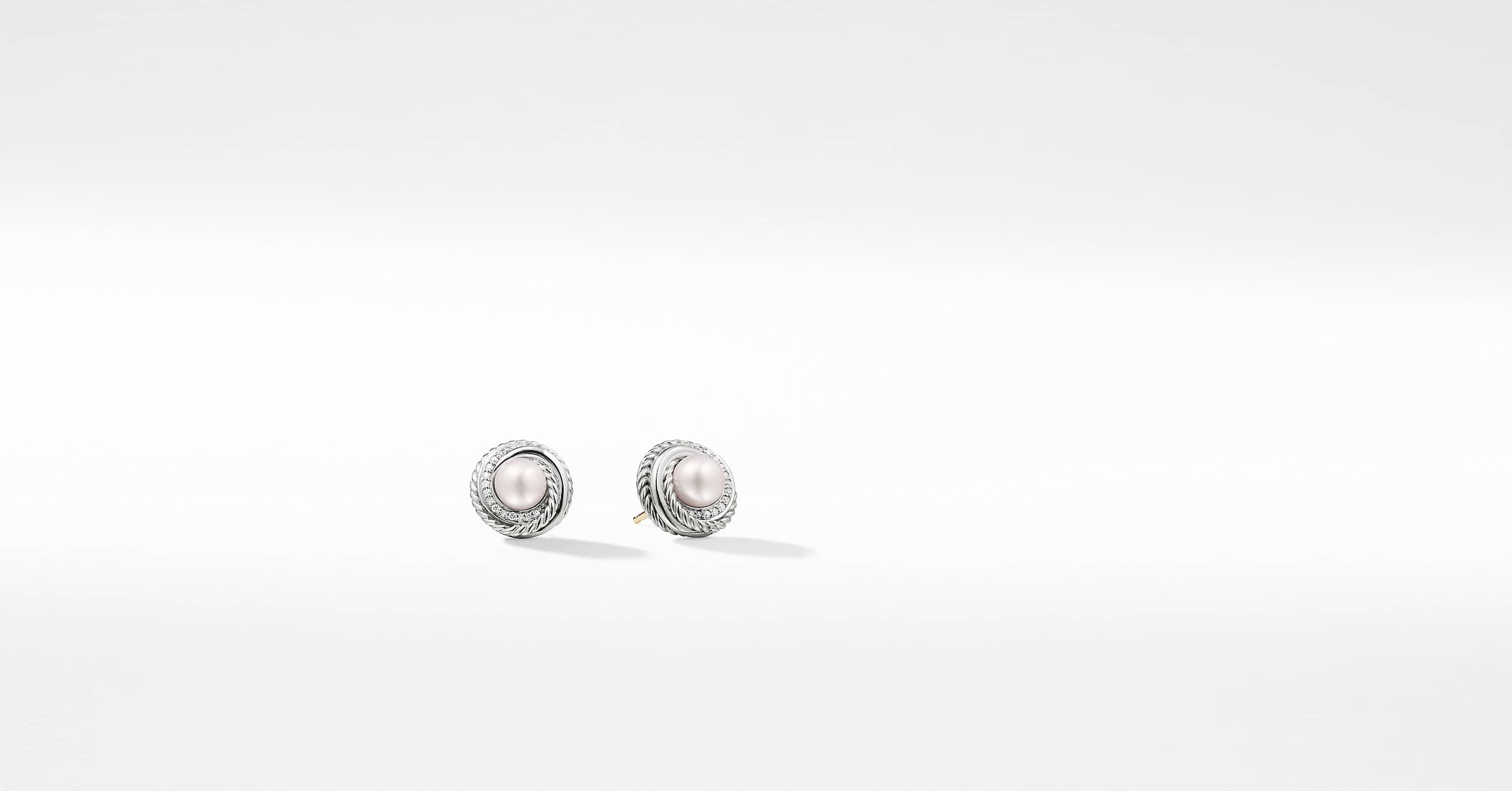 Crossover Earrings with Pearls and Diamonds
