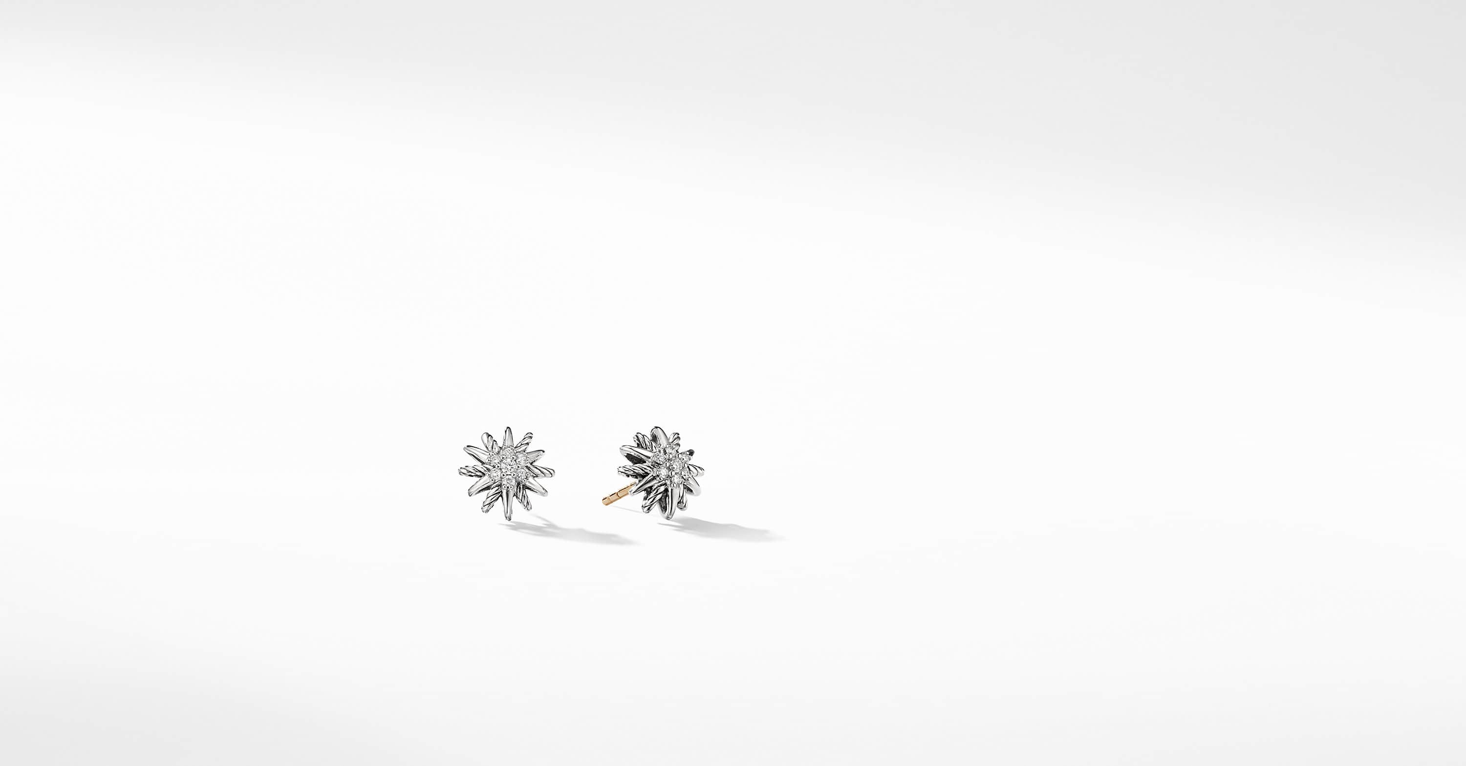 Starburst Earrings with Diamonds, 10mm