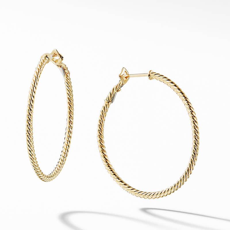 """Cable Classics Hoop Earrings in 18K Yellow Gold, 1.25"""""""