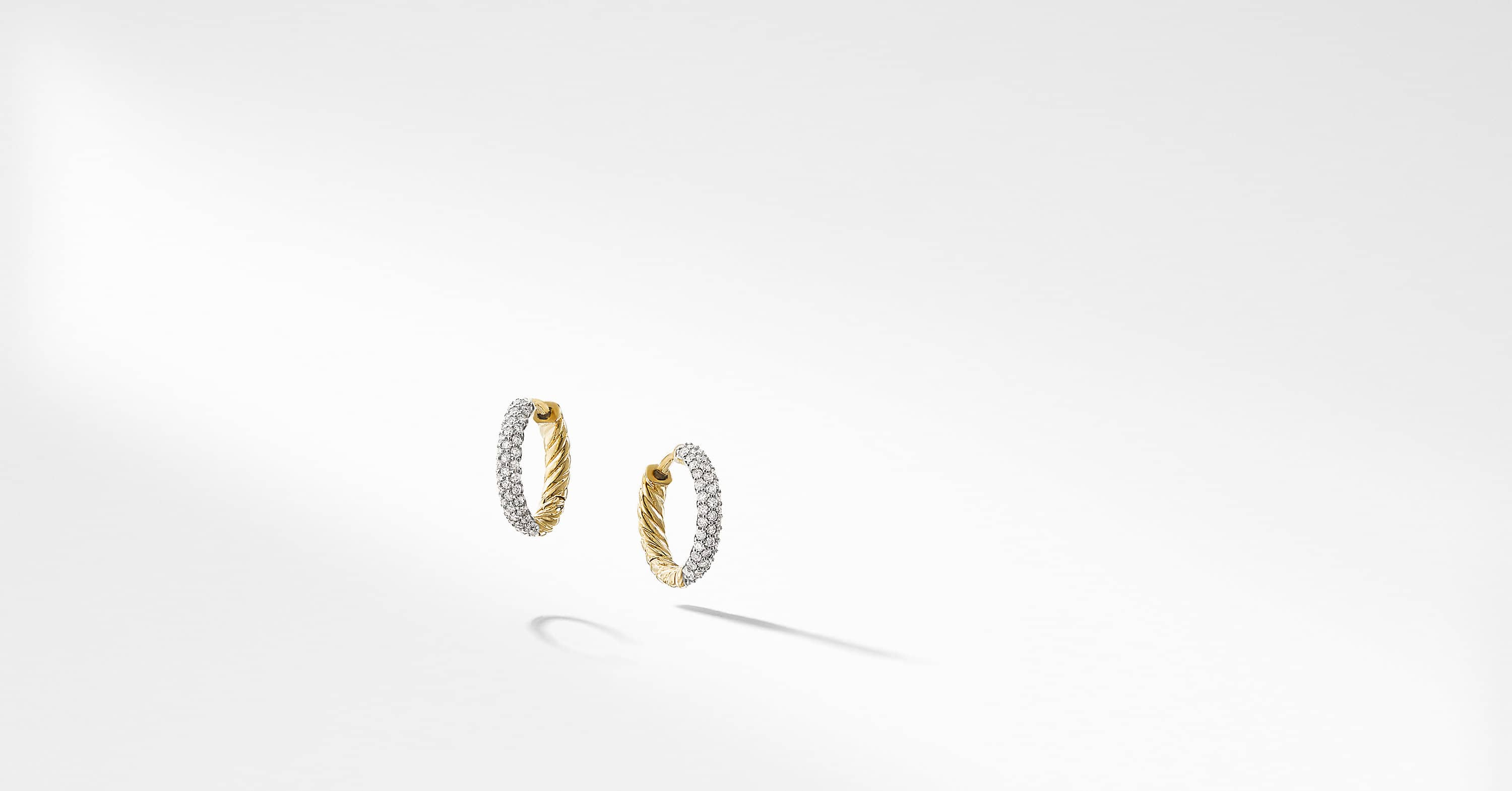 Petite Pave Huggie Hoop Earrings with Diamonds in 18K Gold