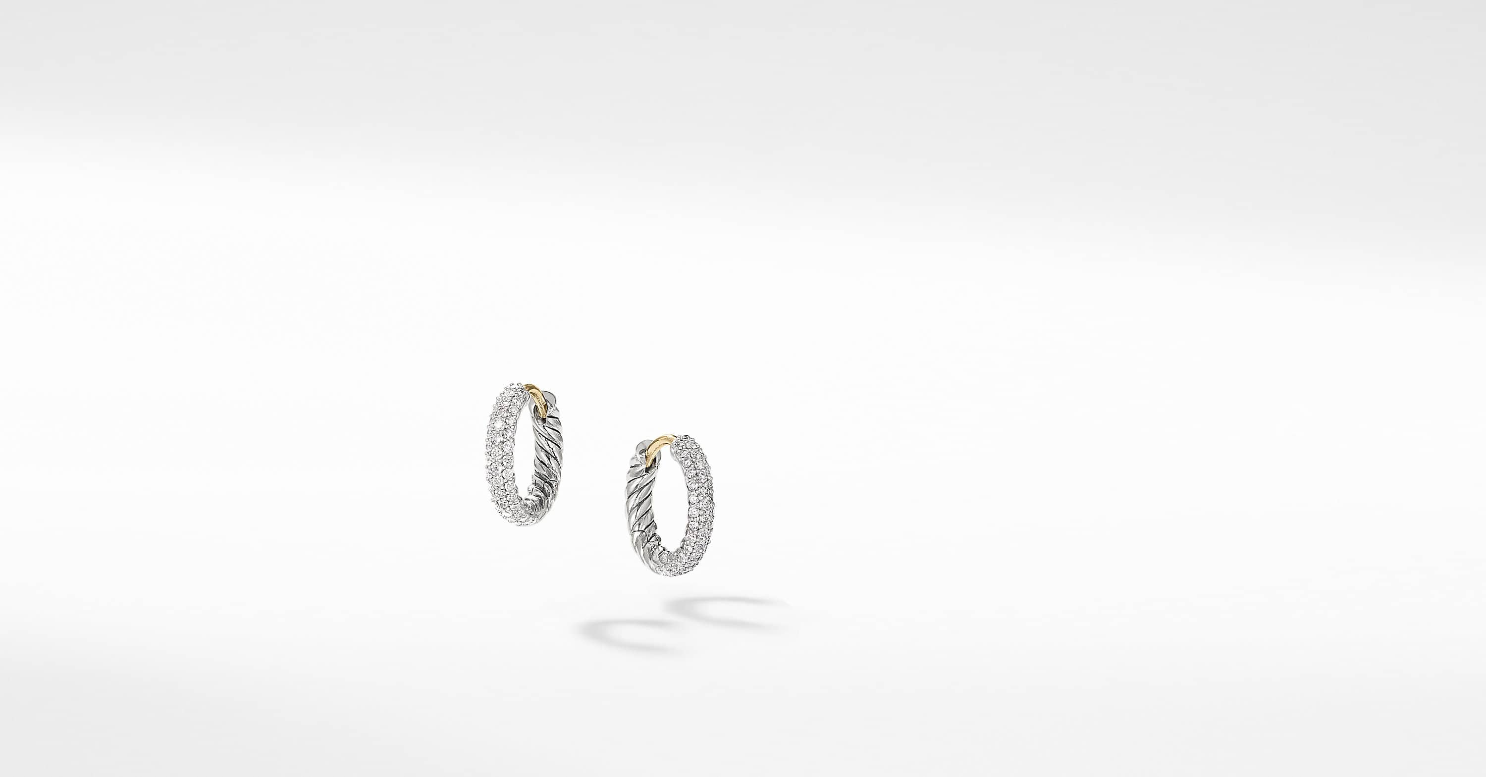 Petite Pave Huggie Hoop Earrings with Diamonds
