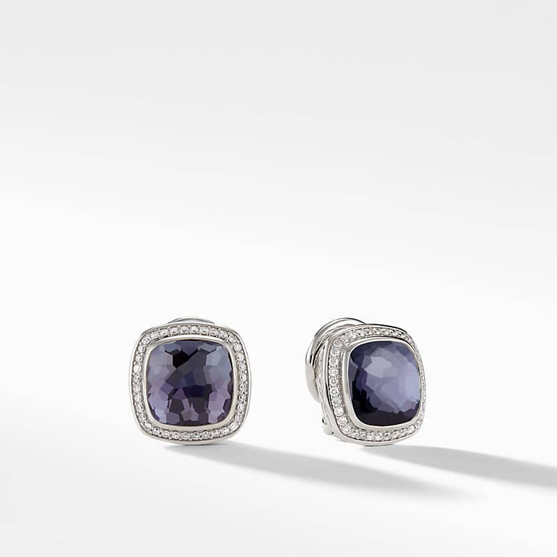 Albion® Earrings with Black Orchid and Diamonds, 11mm