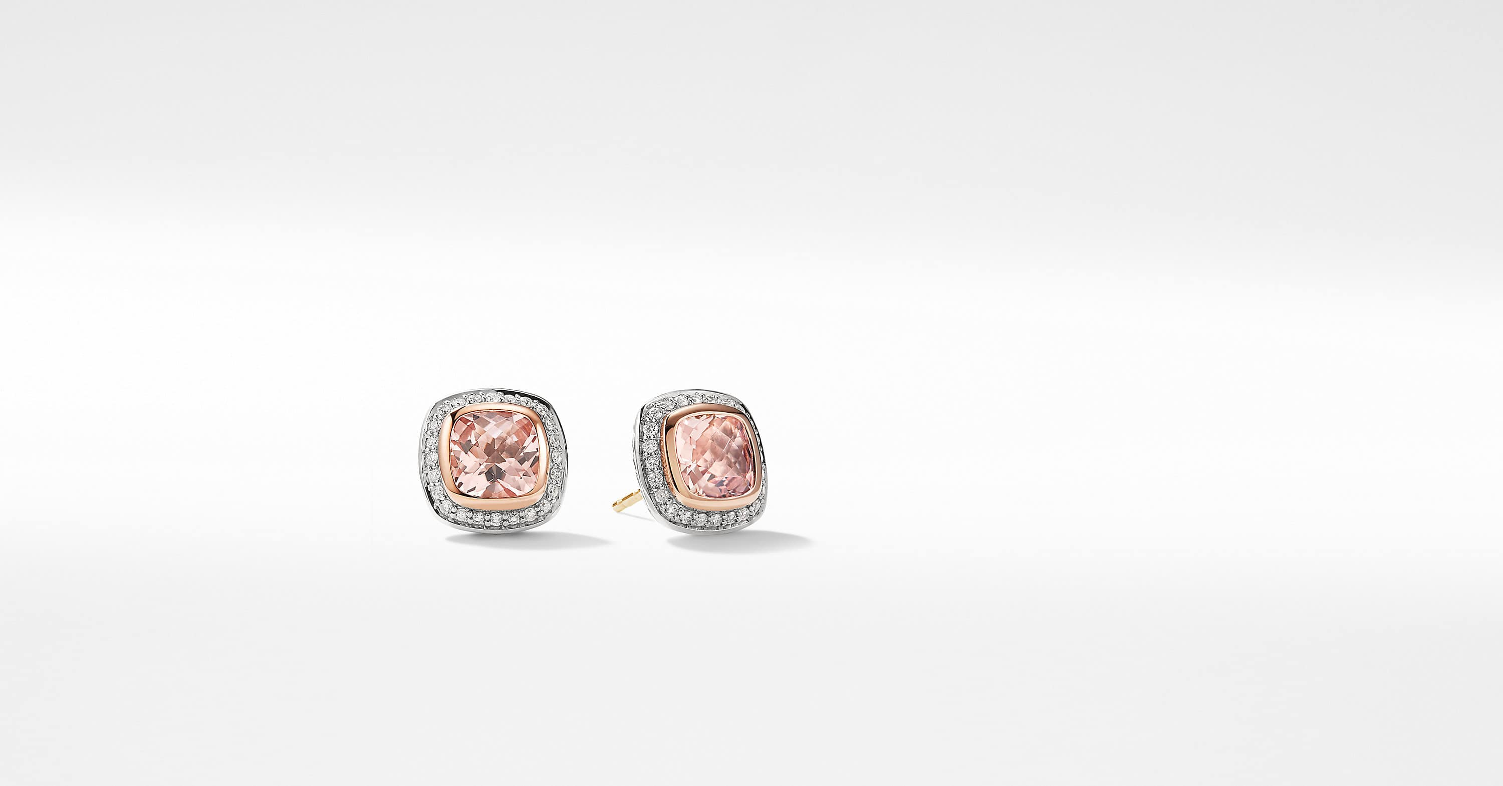 Albion Earrings with Diamonds and 18K Rose Gold, 7mm