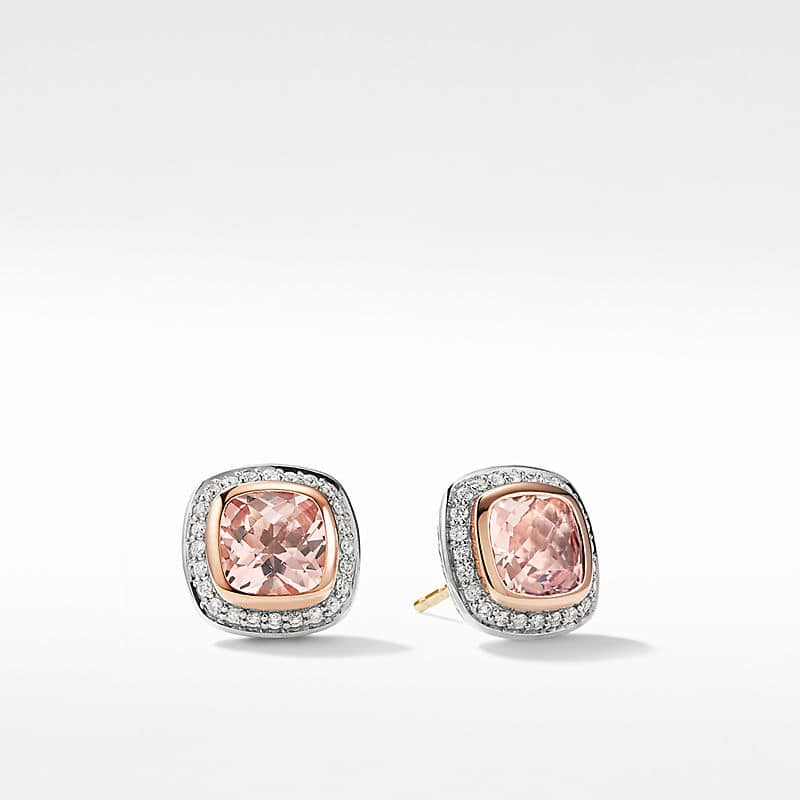 Albion Earrings with Morganite, Diamonds and 18K Rose