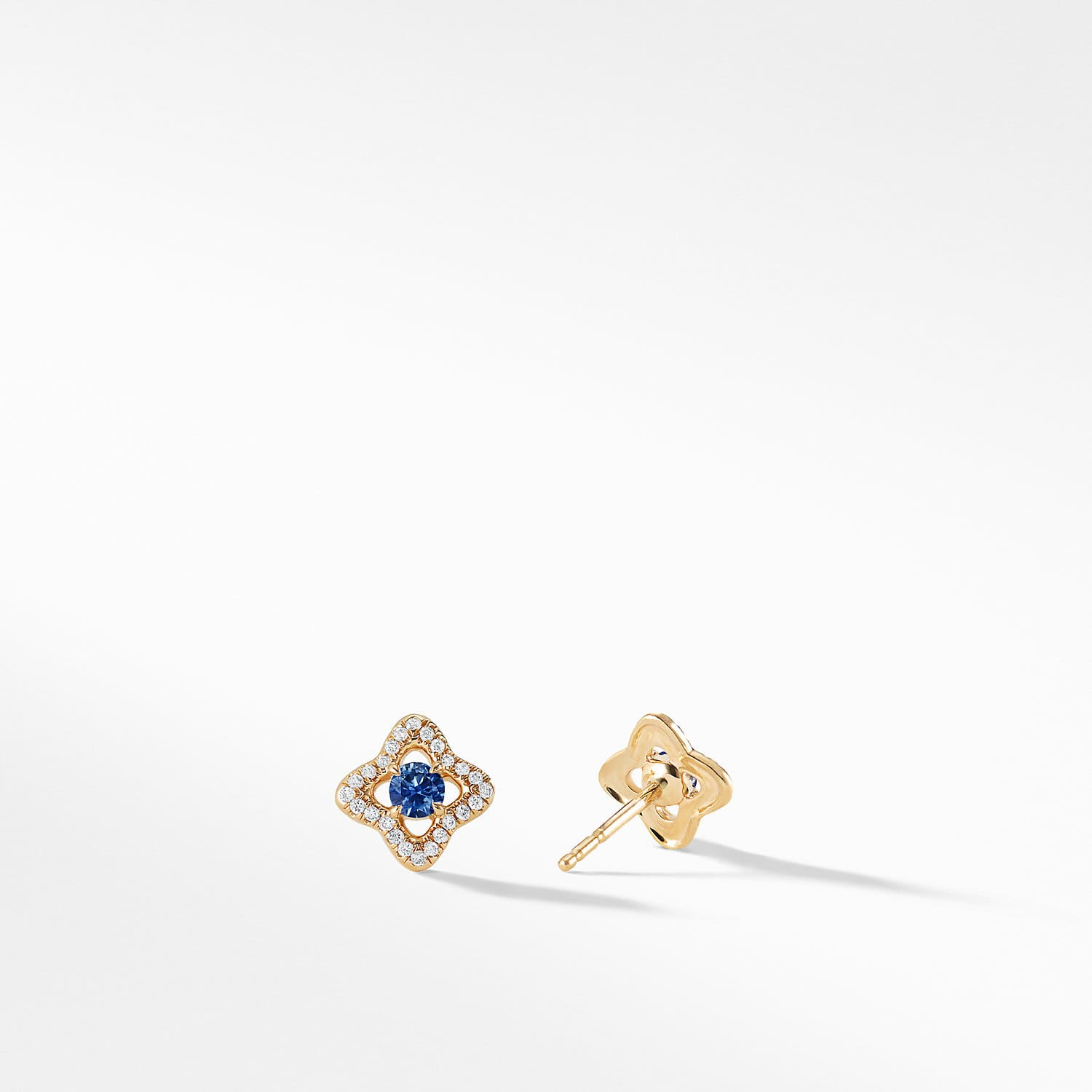 Venetian Quatrefoil Earrings With Blue Shires And Diamonds In 18k Gold Product Image
