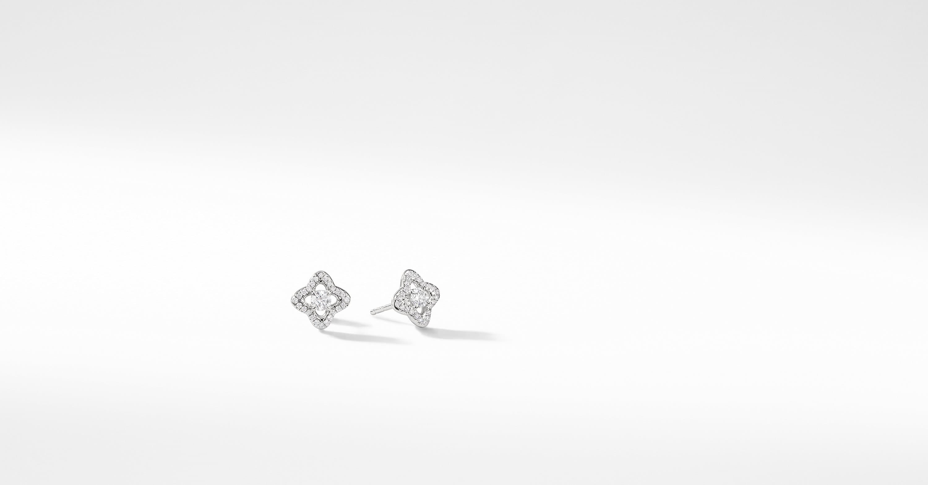 Venetian Quatrefoil Earrings with Diamonds in 18K White Gold