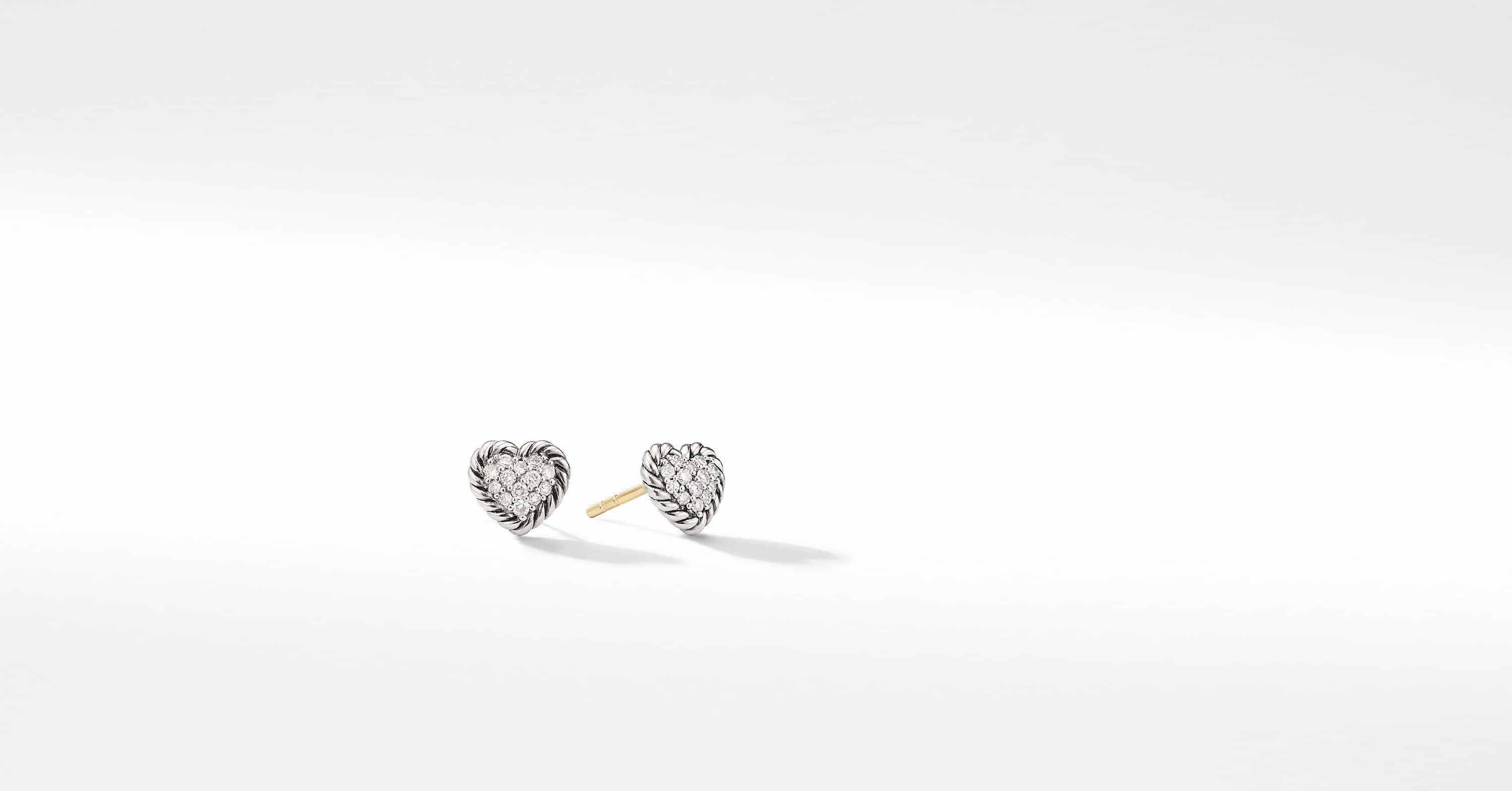 Petite Pave Heart Earrings with Diamonds