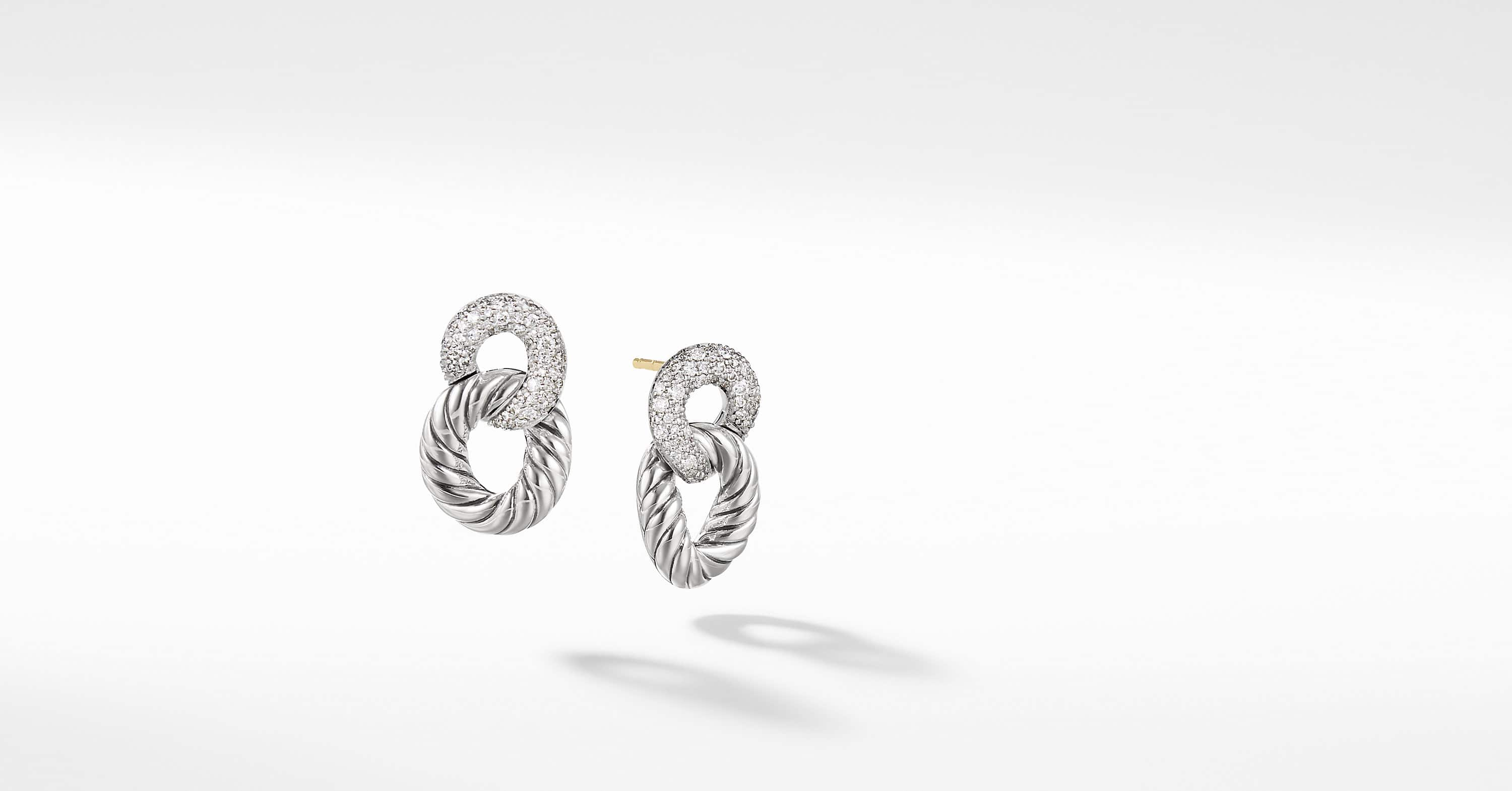 Belmont Curb Link Drop Earrings with Diamonds