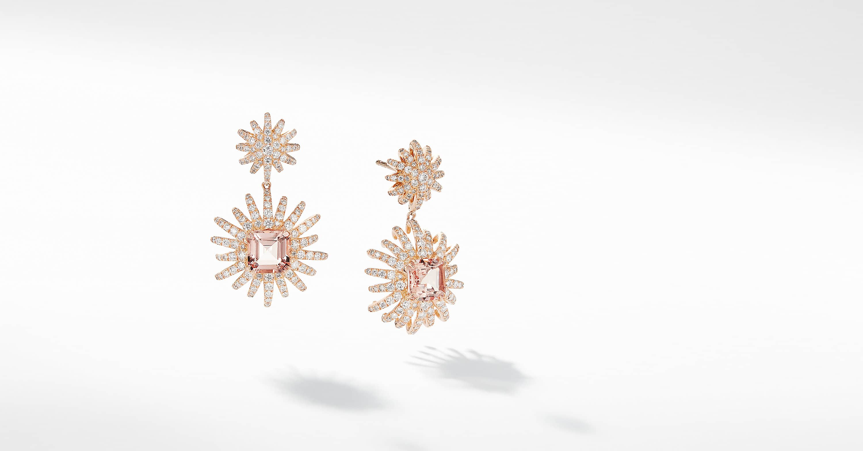 Starburst Drop Earring with Diamonds in 18K Rose Gold