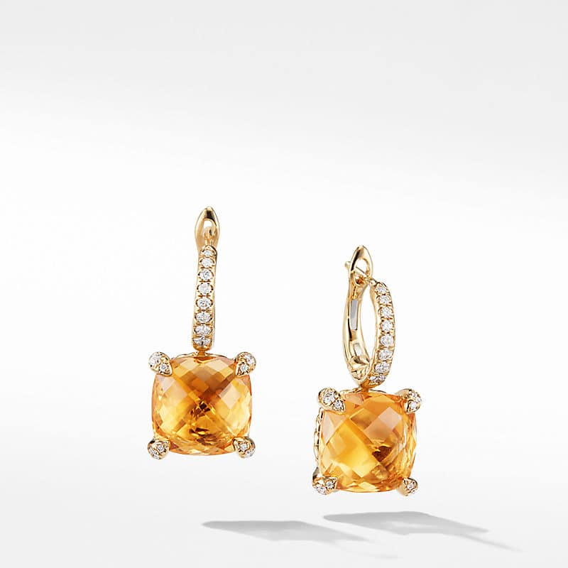 Chatelaine Drop Earrings with Diamonds in 18K Gold