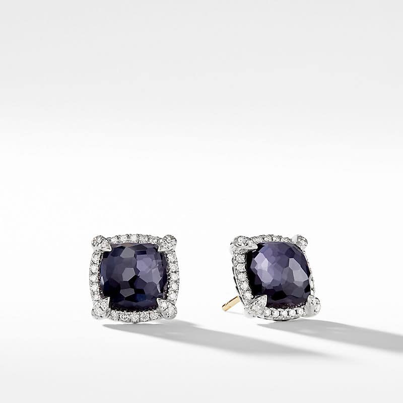 Chatelaine Pave Bezel Earring with Diamonds, 9mm