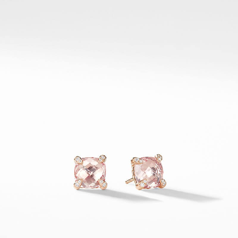 Chatelaine Stud Earrings with Diamonds in 18k Rose Gold, 8mm