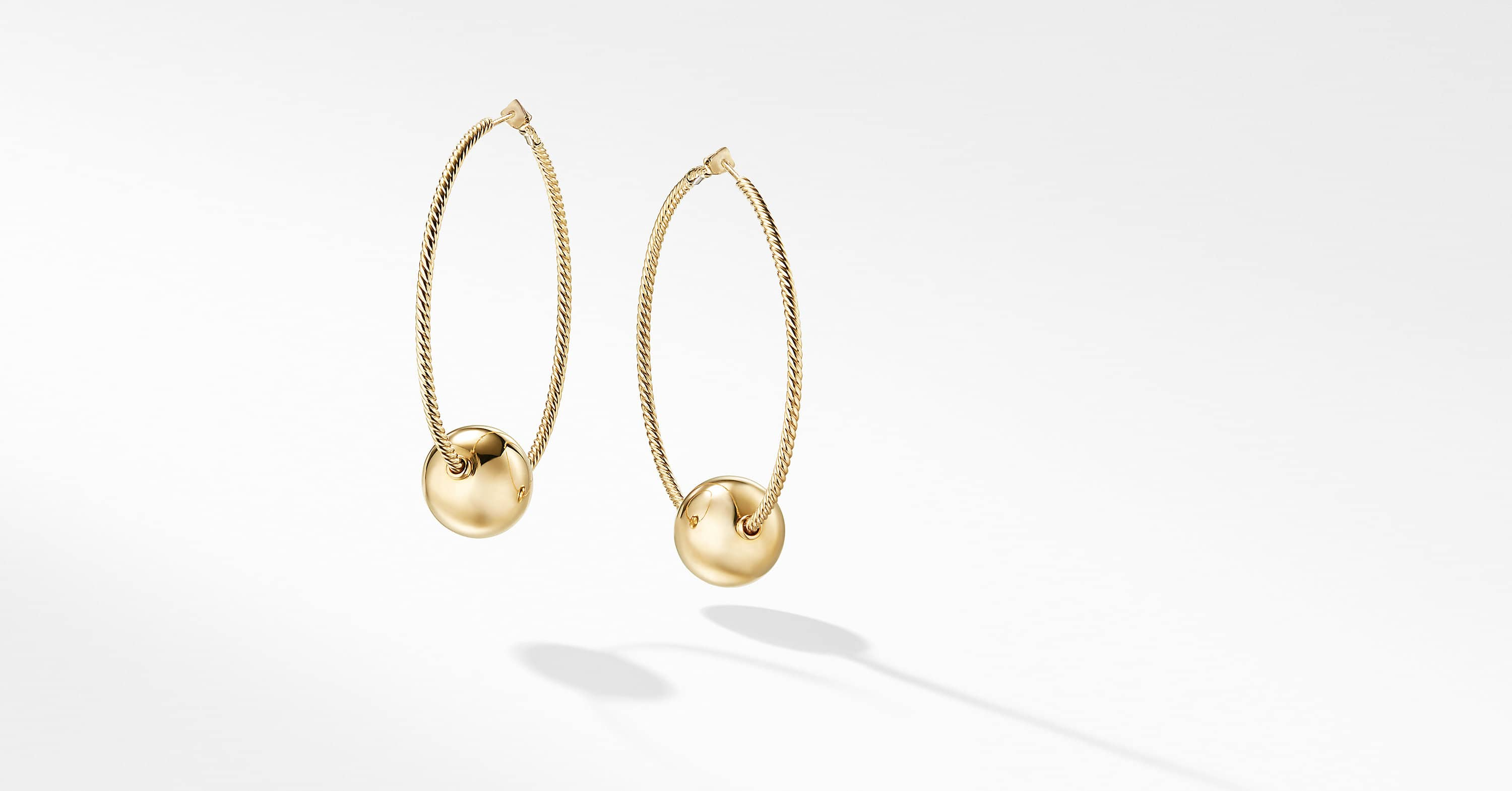 Solari Large Hoop Earrings with Pearls in 18K Gold