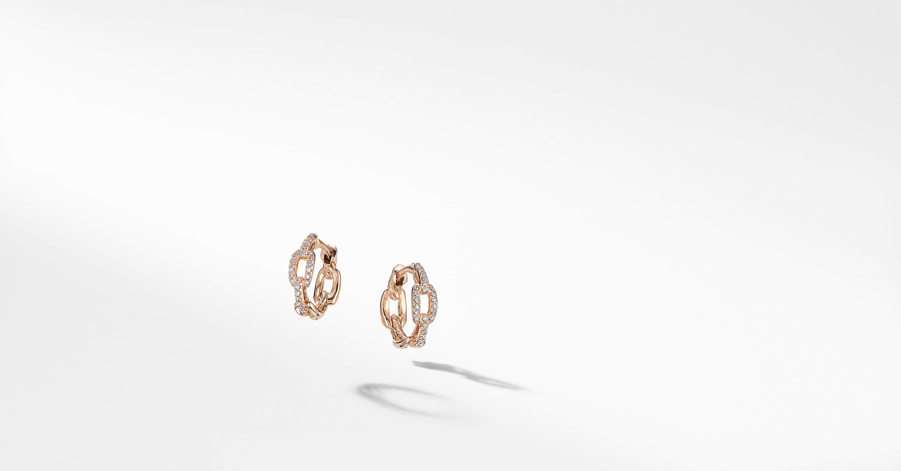 Stax Chain Link Huggie Hoop Earrings with Diamonds in 18K Rose Gold
