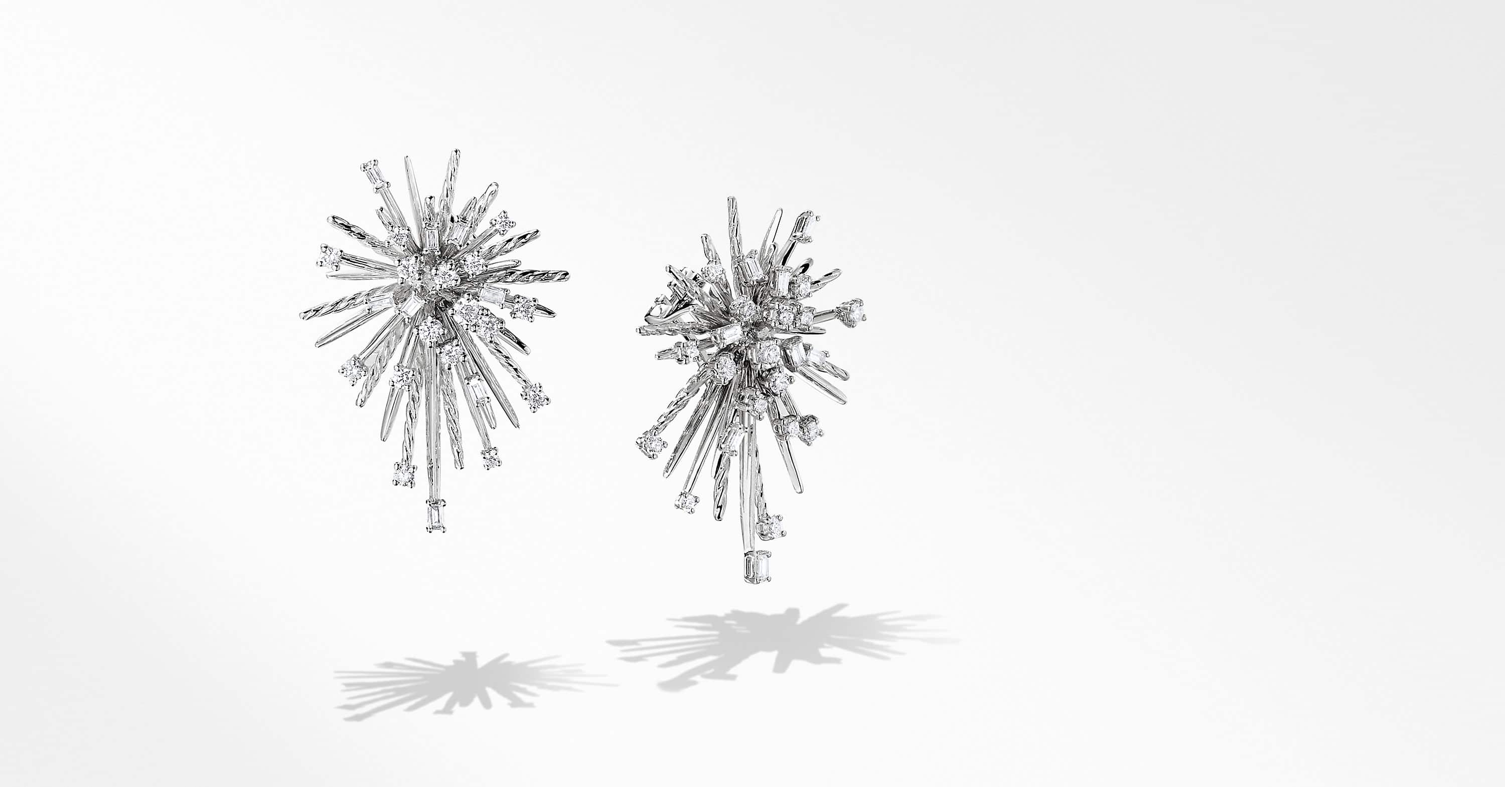 Supernova Climber Earrings with Diamonds in 18K White Gold