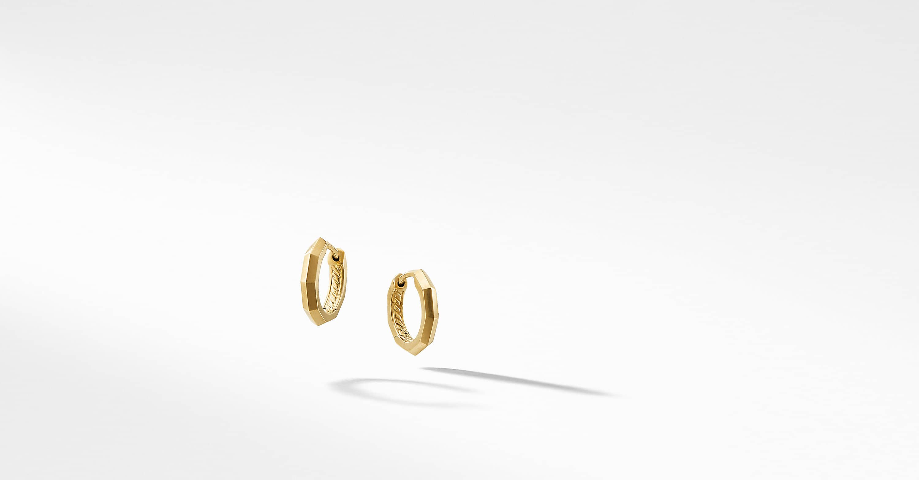 Stax Faceted Huggie Hoop Earrings in 18K Gold