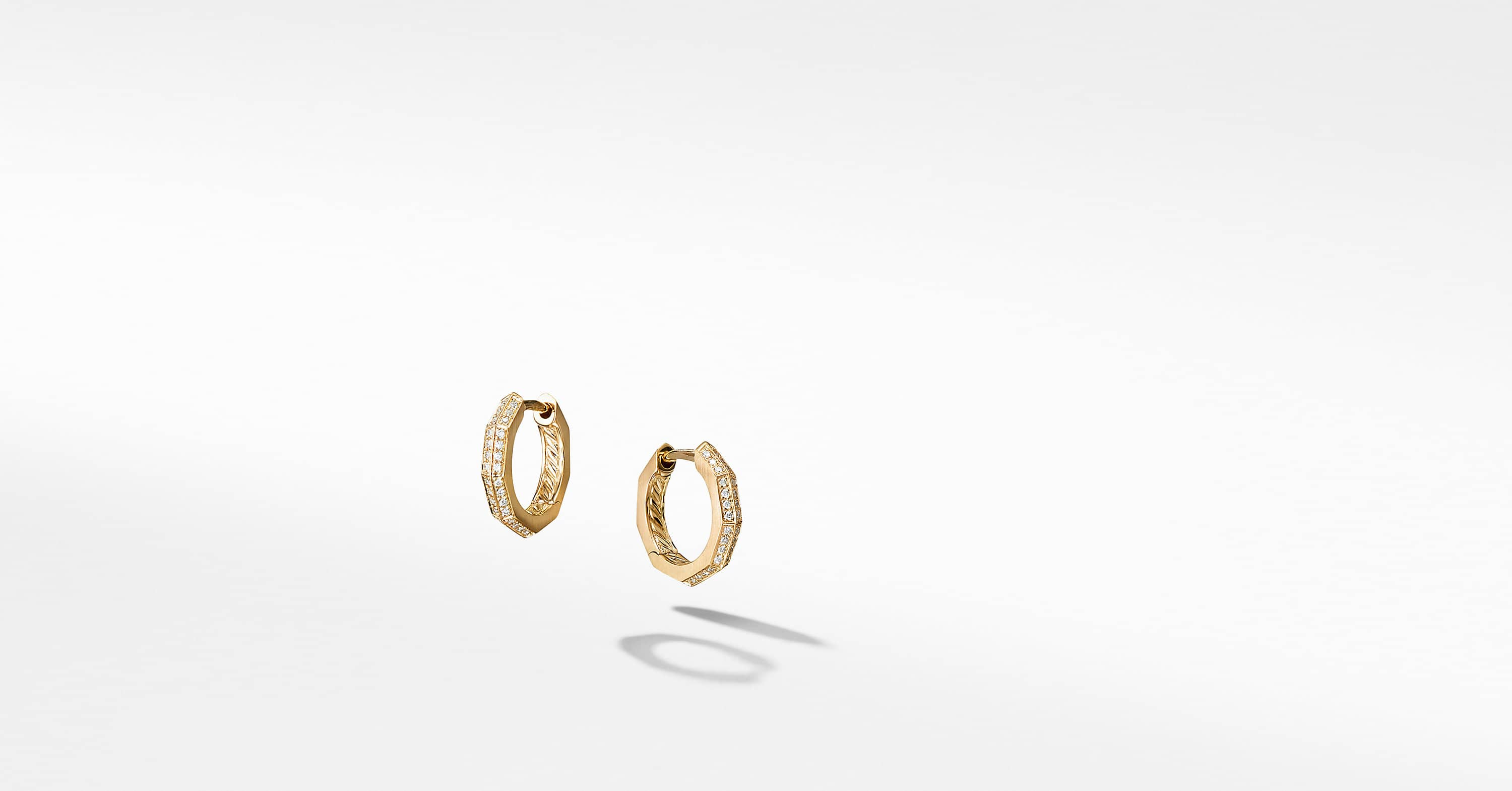 Stax Faceted Huggie Hoop Earrings with Diamonds in 18K Gold