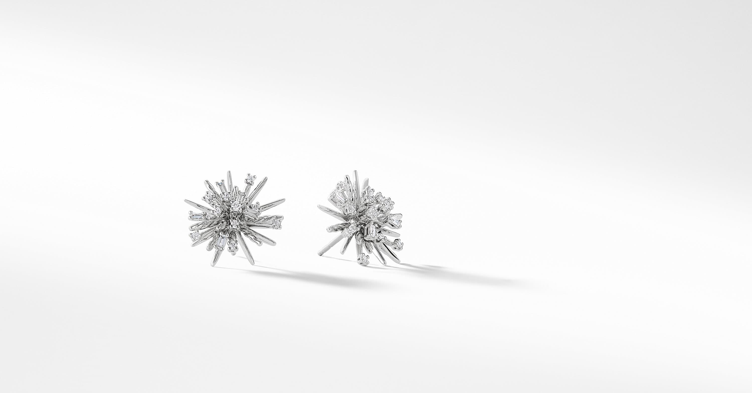 Supernova Stud Earrings with Diamonds in 18K White Gold