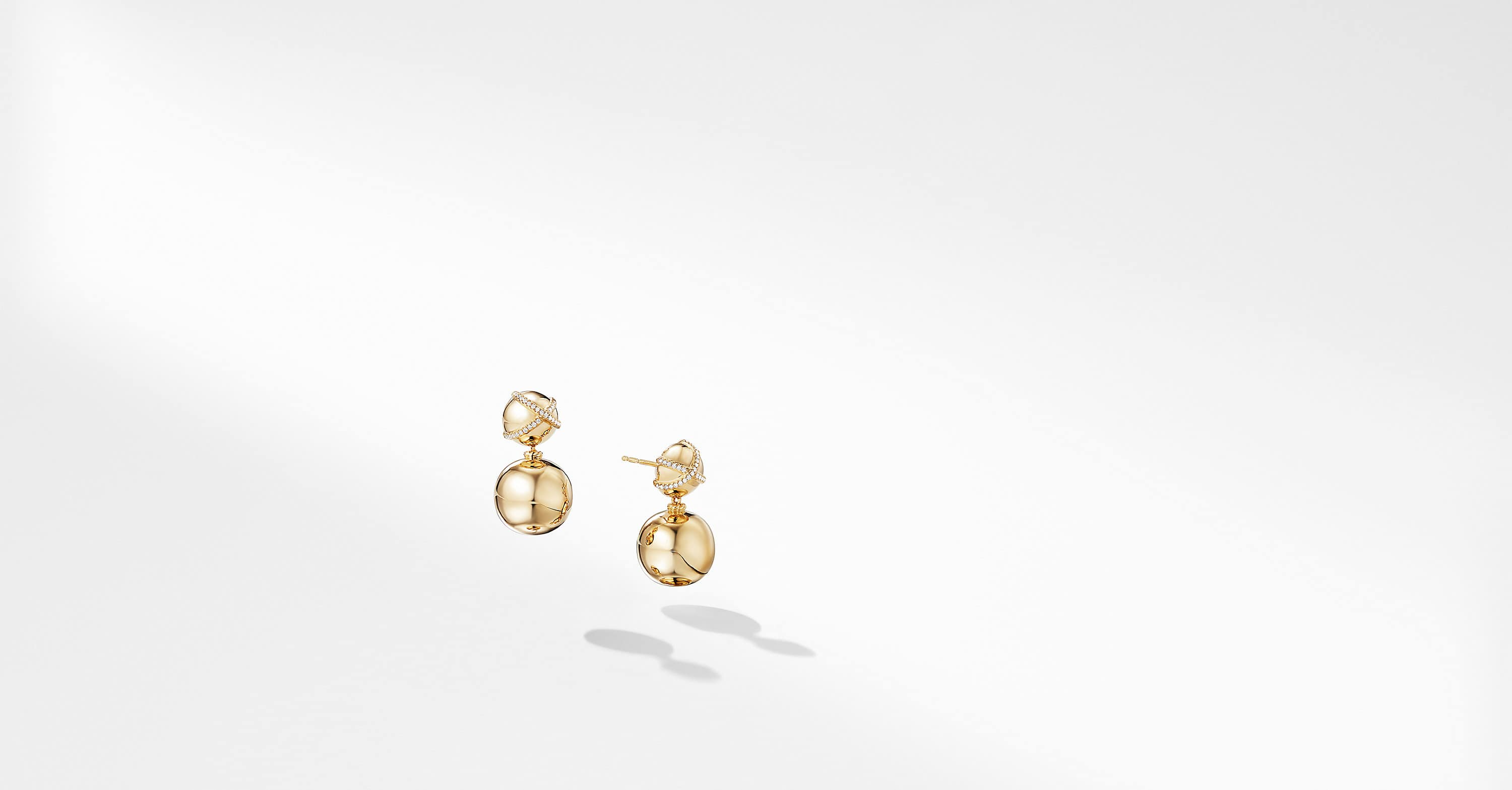 Solari Pave Wrap Double Drop Earrings with Diamonds in 18K Gold