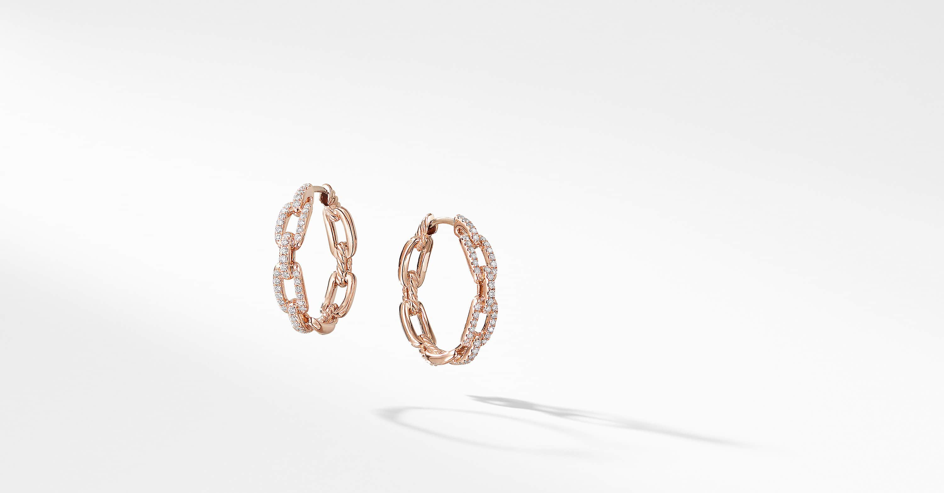 Stax Medium Chain Link Hoop Earrings with Diamonds in 18K Rose Gold