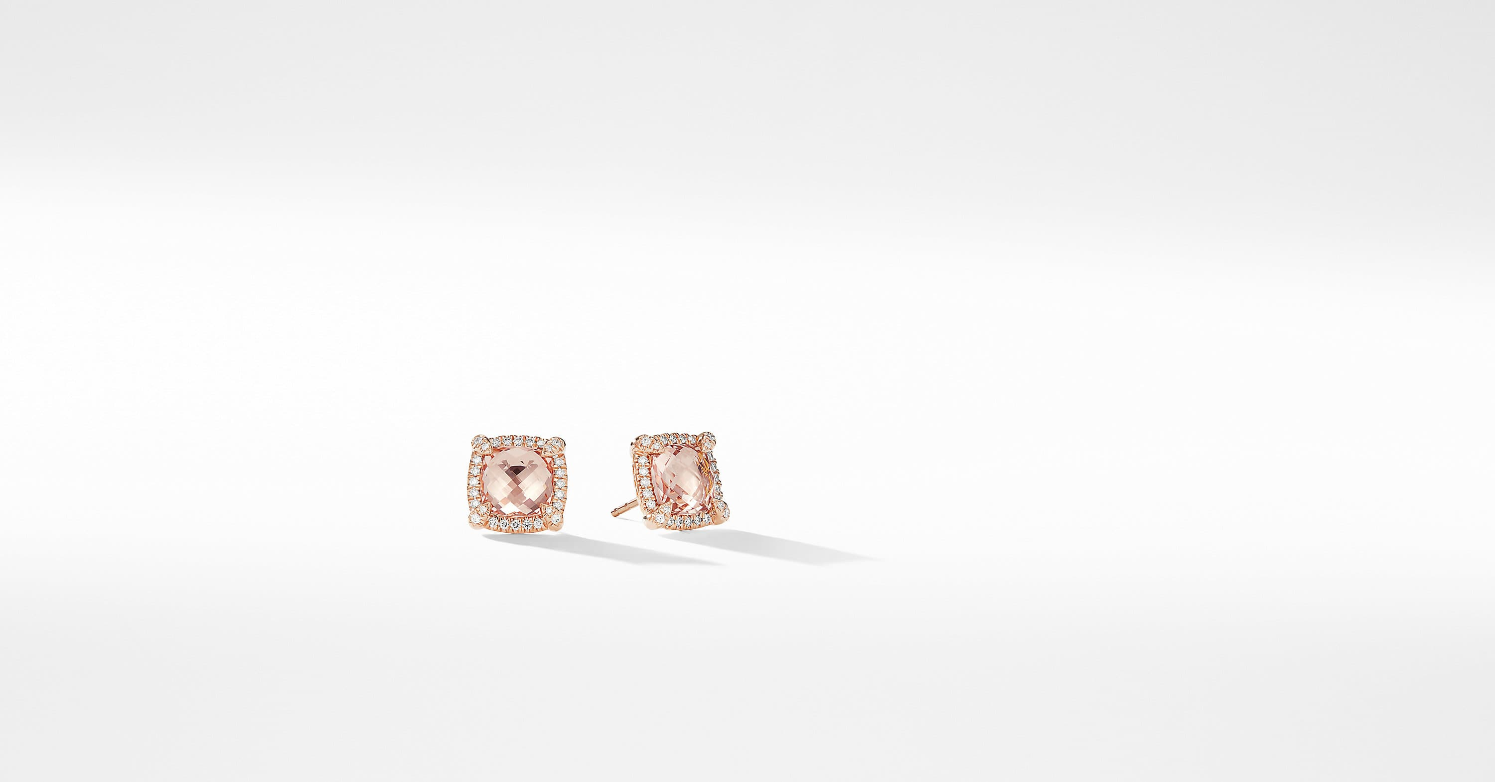 Châtelaine Pave Bezel Stud Earring in 18K Rose Gold