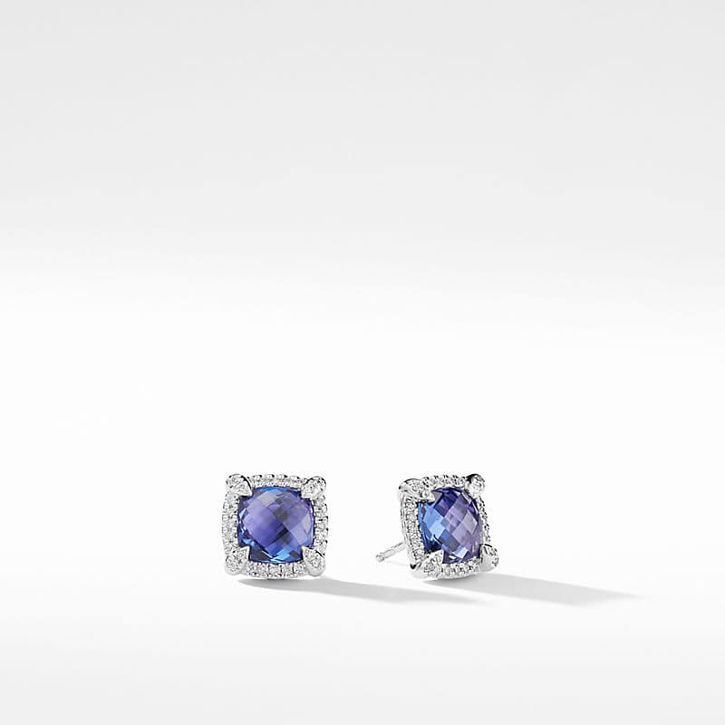 Châtelaine Pave Bezel Stud Earring with Tanzanite and