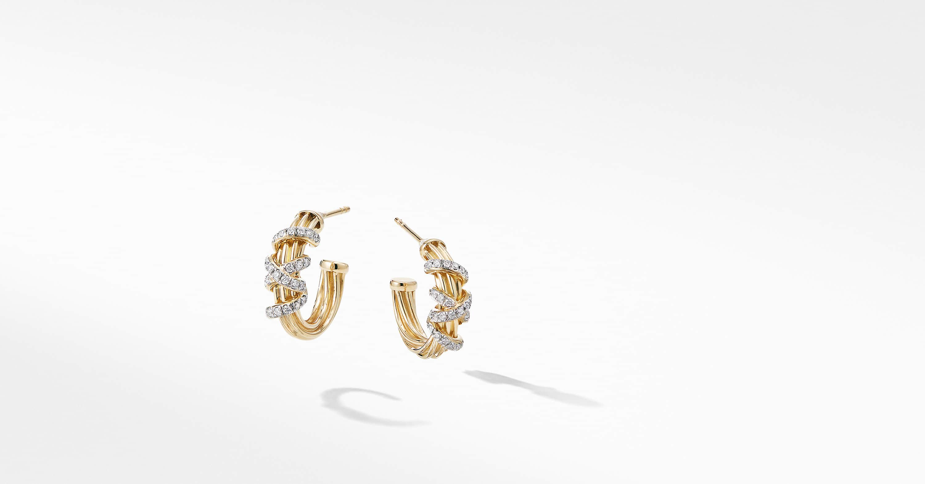 Helena Small Hoop Earring in 18K Yellow Gold with Diamonds
