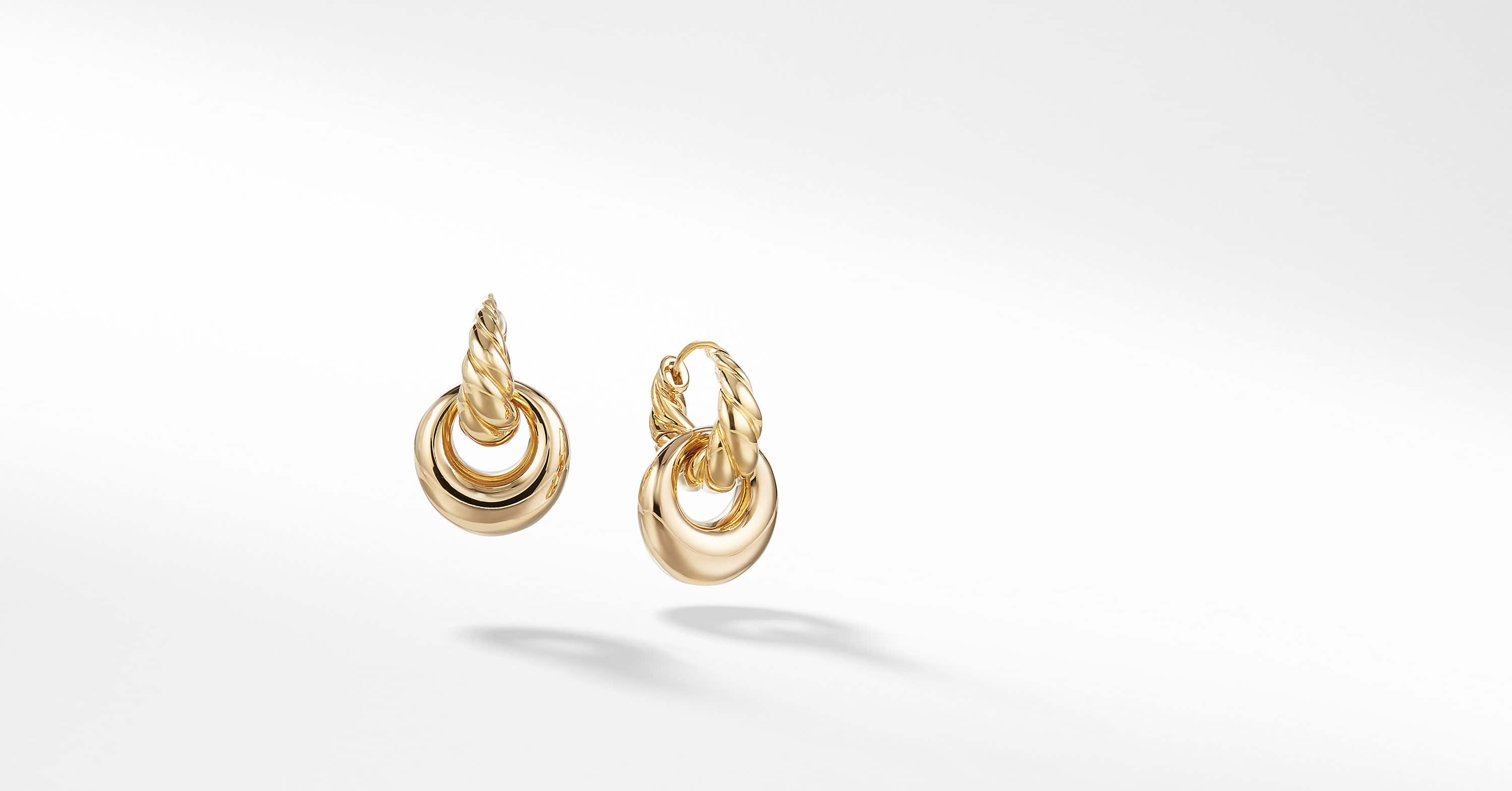 Pure Form Drop Earrings in 18K Yellow Gold, 24mm