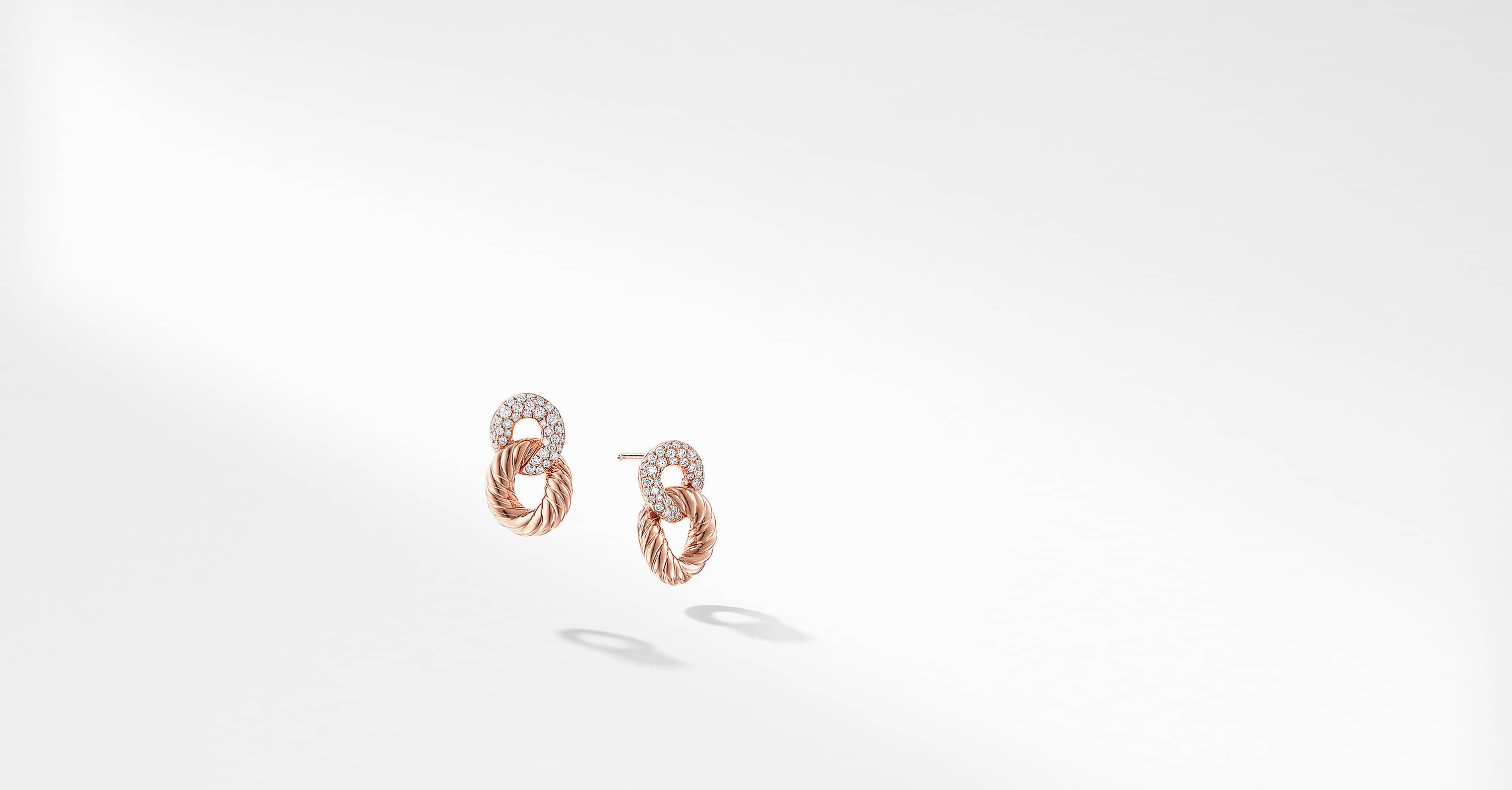 Belmont Extra-Small Curb Link Drop Earrings with Diamonds in 18K Rose Gold