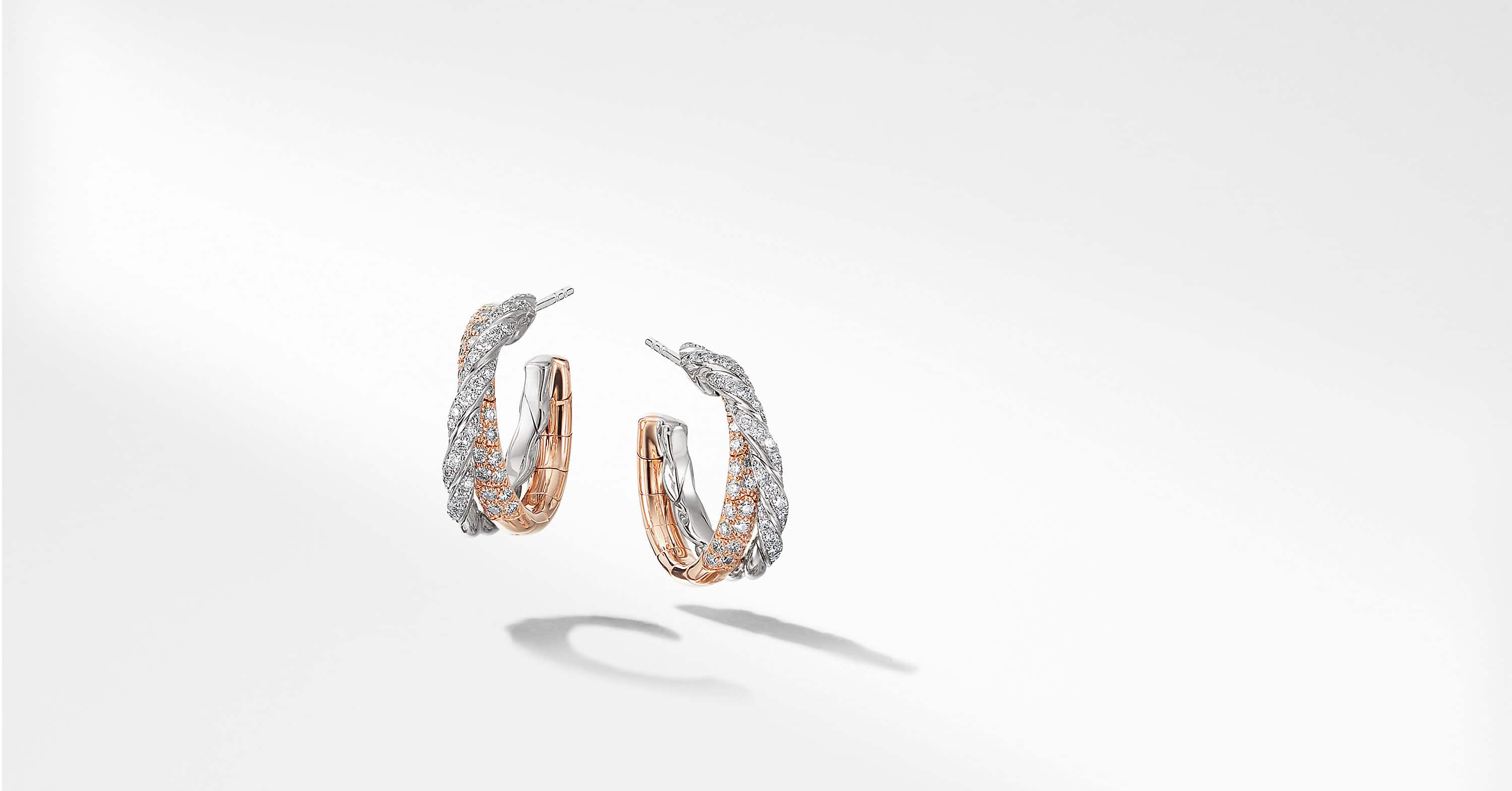 Pavéflex Petite Hoop Earrings with Diamonds in 18K Rose Gold