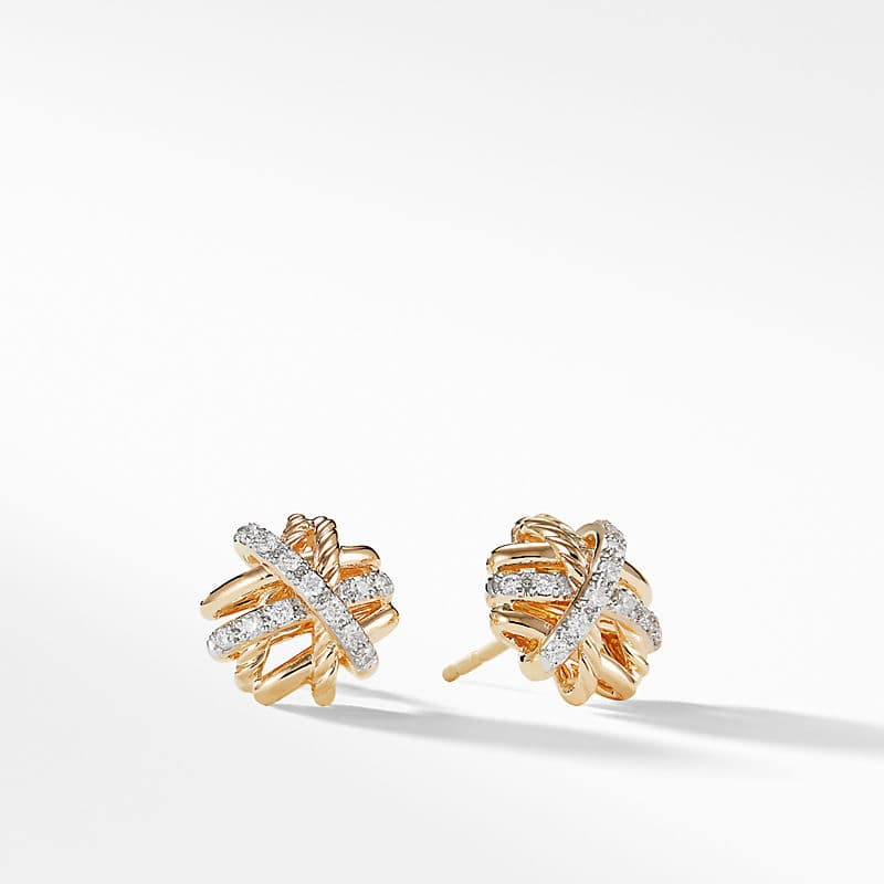 The Crossover Collection Earrings in 18K Yellow Gold with Diamonds, 11mm