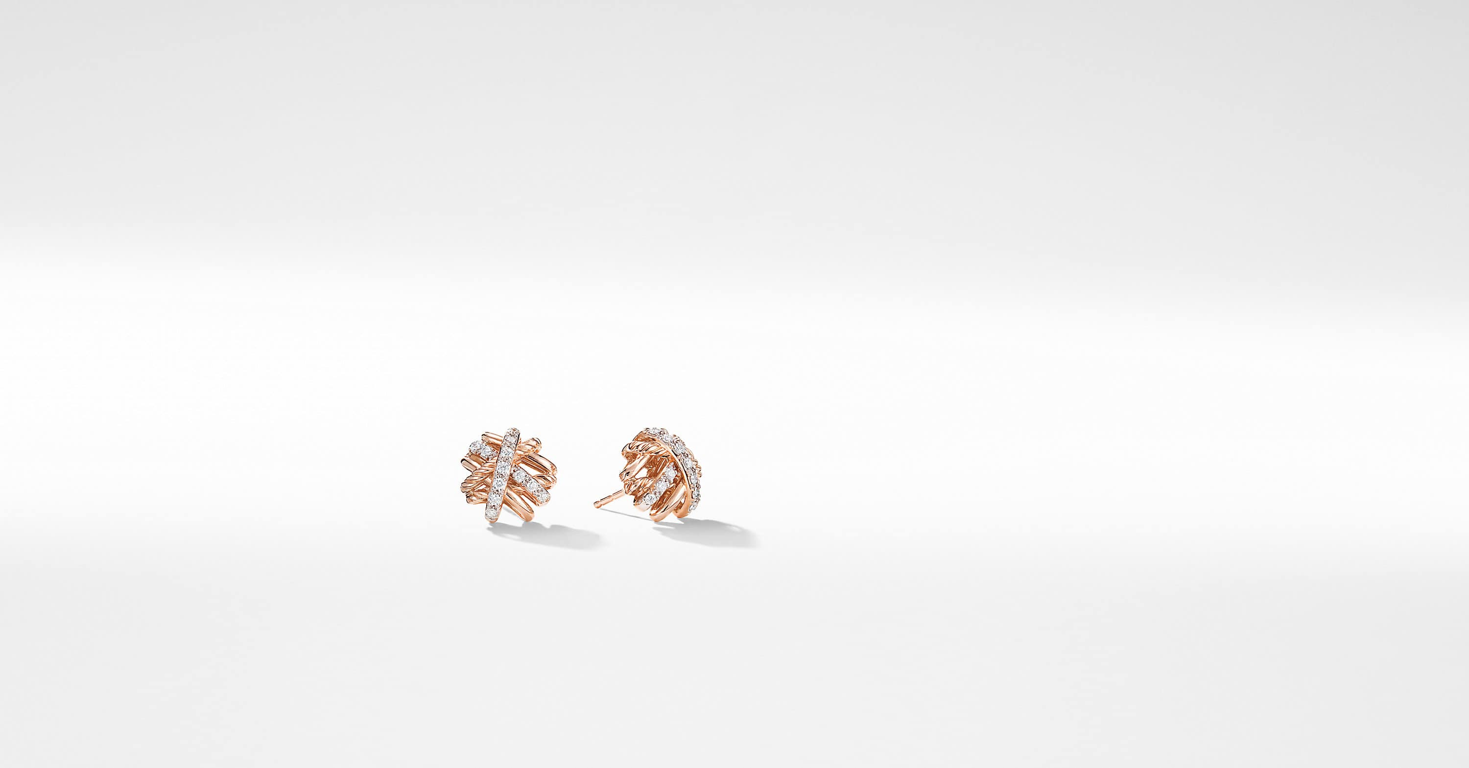 Crossover Earrings with Diamonds in 18K Rose Gold, 11mm
