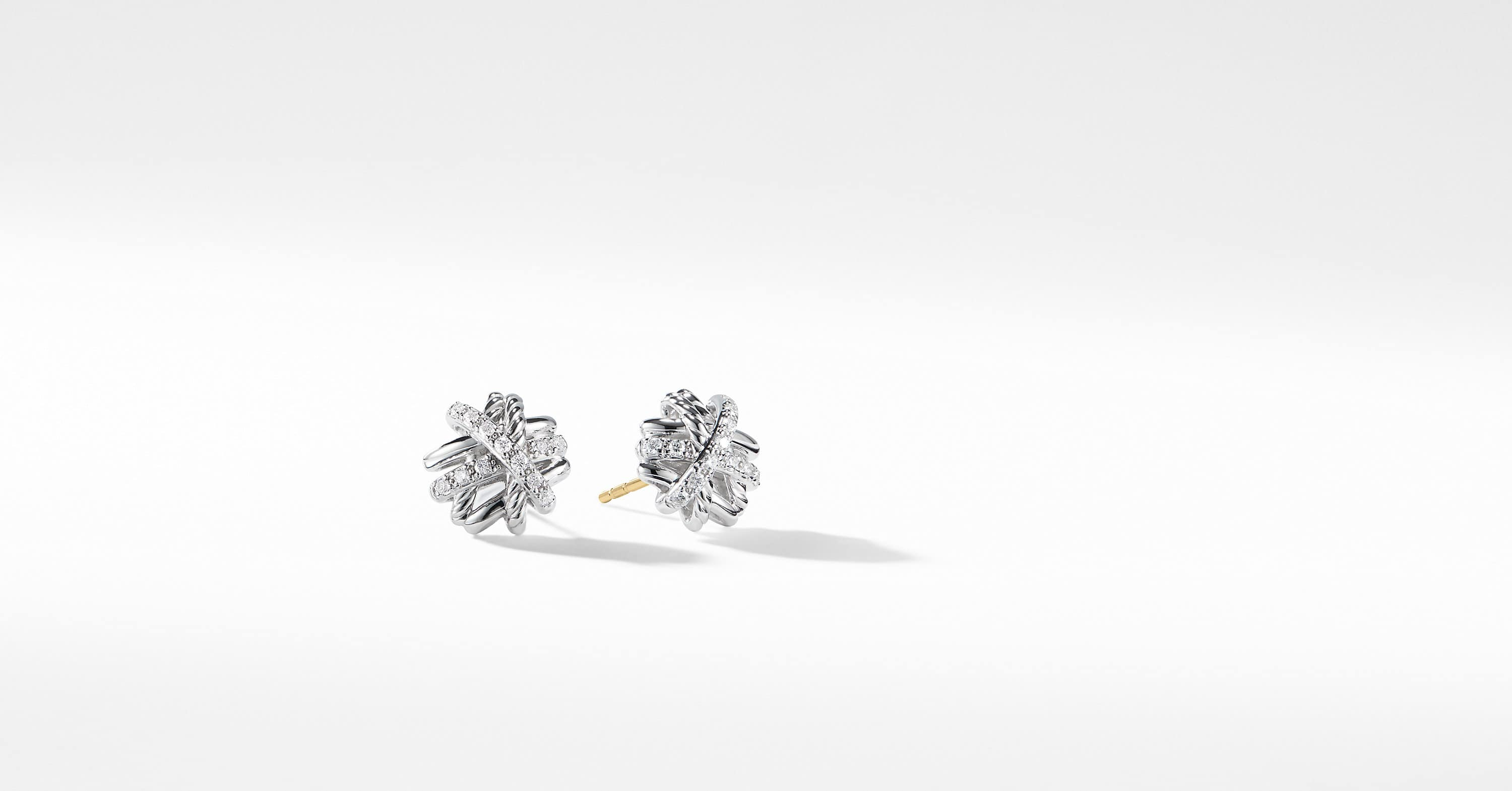 Crossover Earrings With Diamonds 11mm