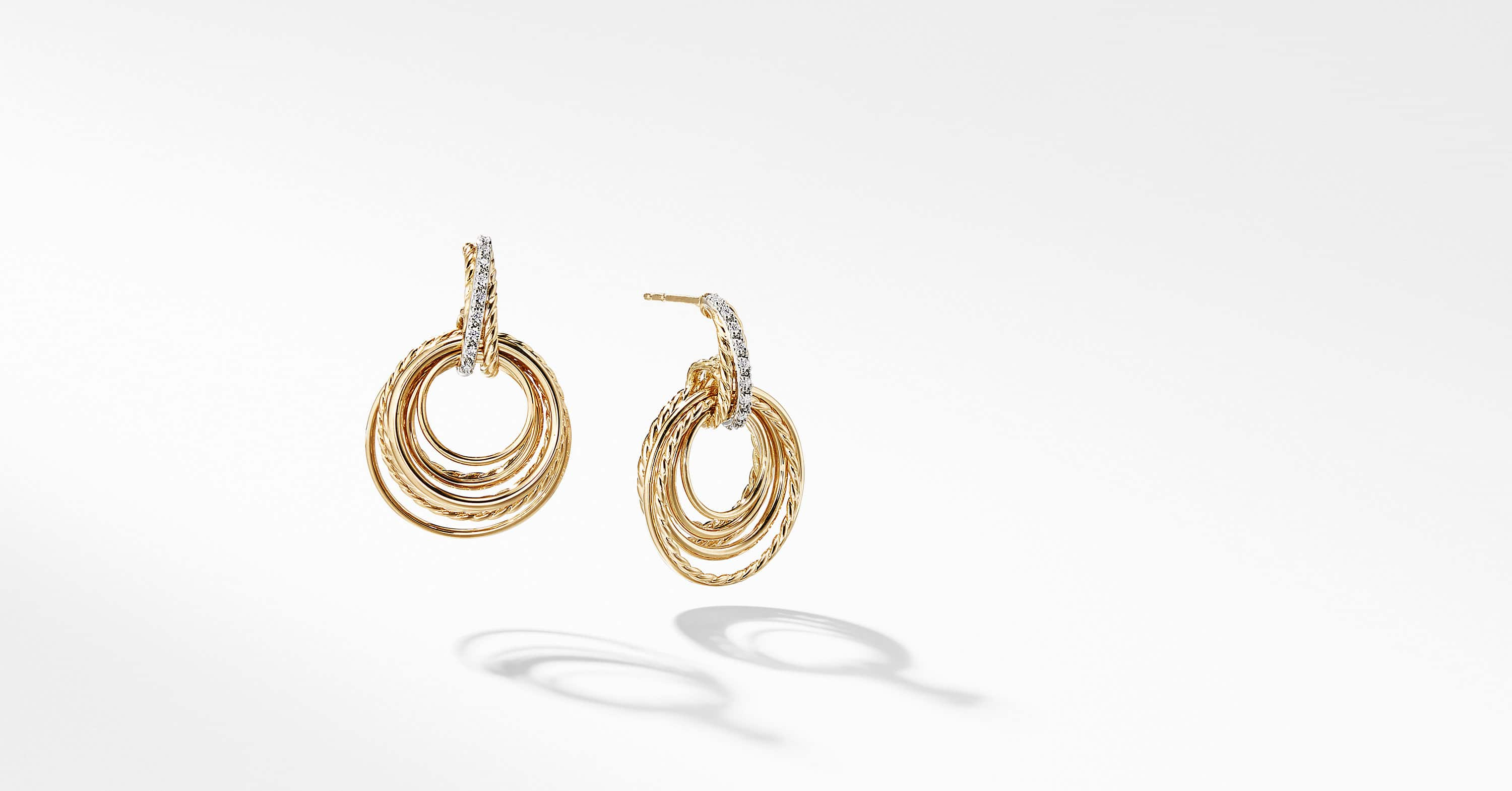 Crossover Drop Earrings with Diamonds in 18K Yellow Gold, 30mm